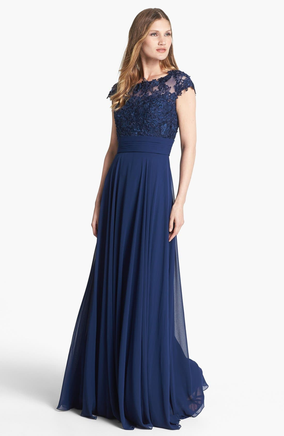 Alternate Image 1 Selected - La Femme Lace Bodice Ball Gown