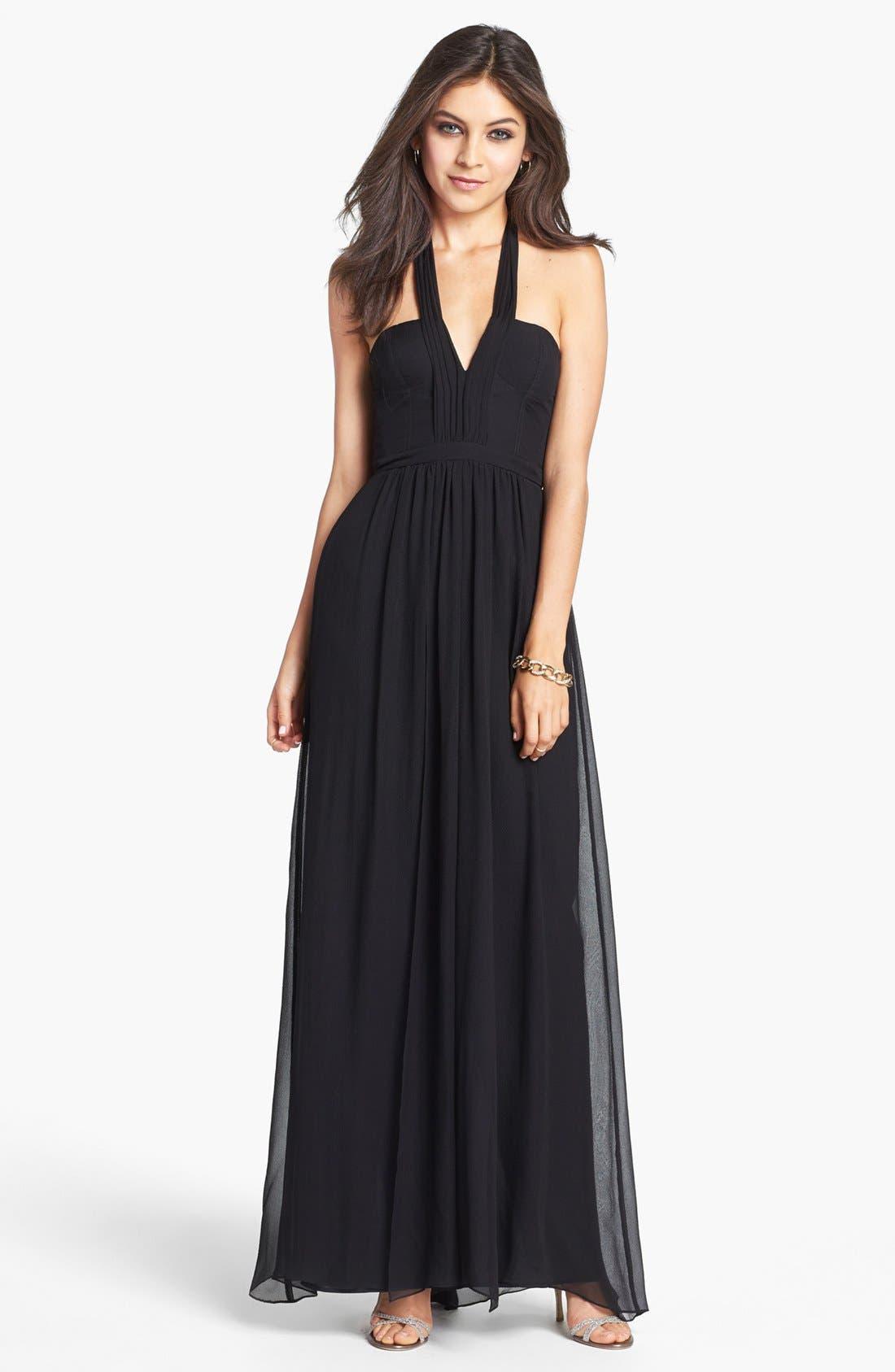 Main Image - BCBGMAXAZRIA Seamed Silk Halter Gown