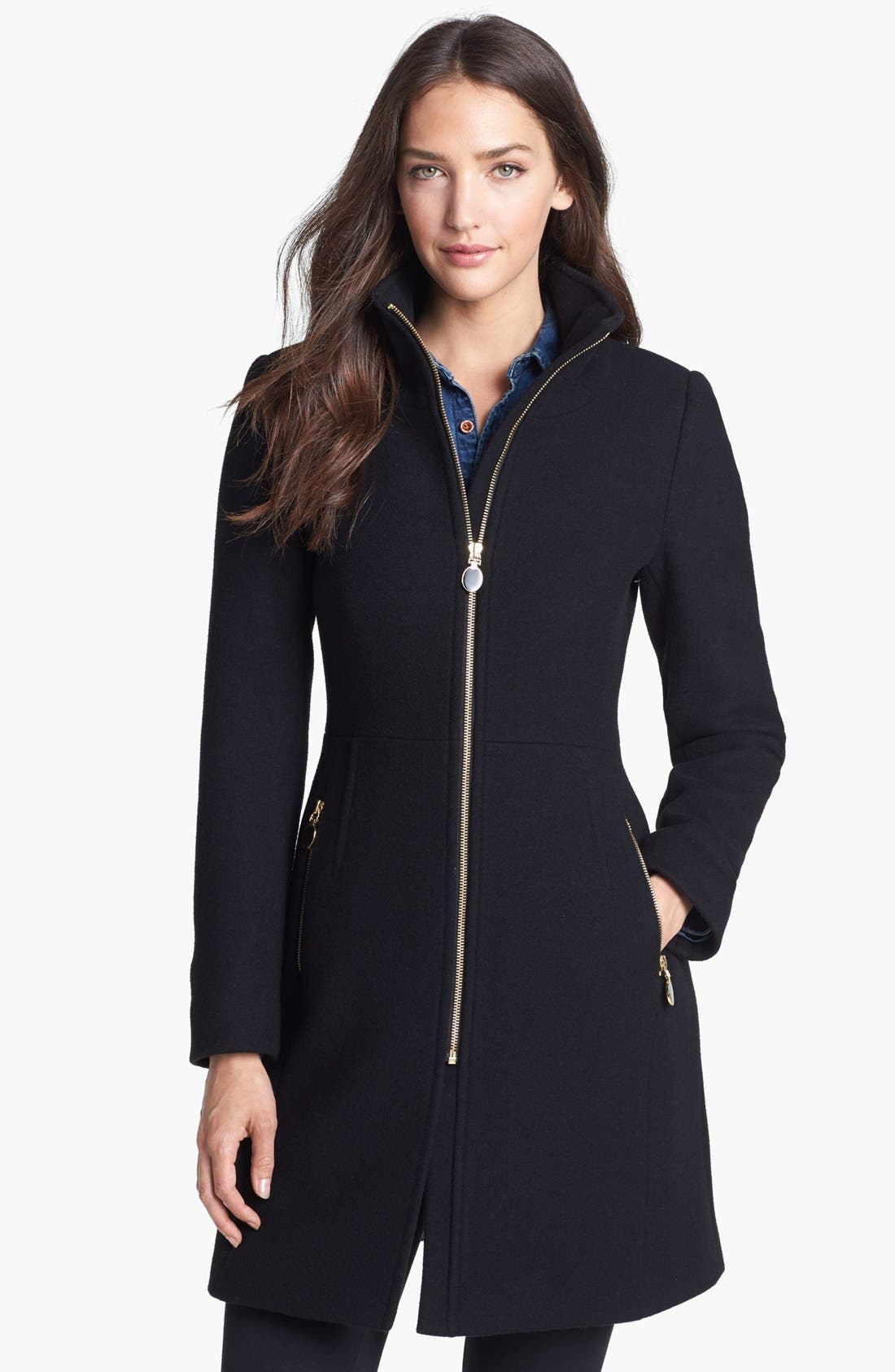 Alternate Image 1  - Elie Tahari 'Loraina' Zip Front Wool Blend Long Coat