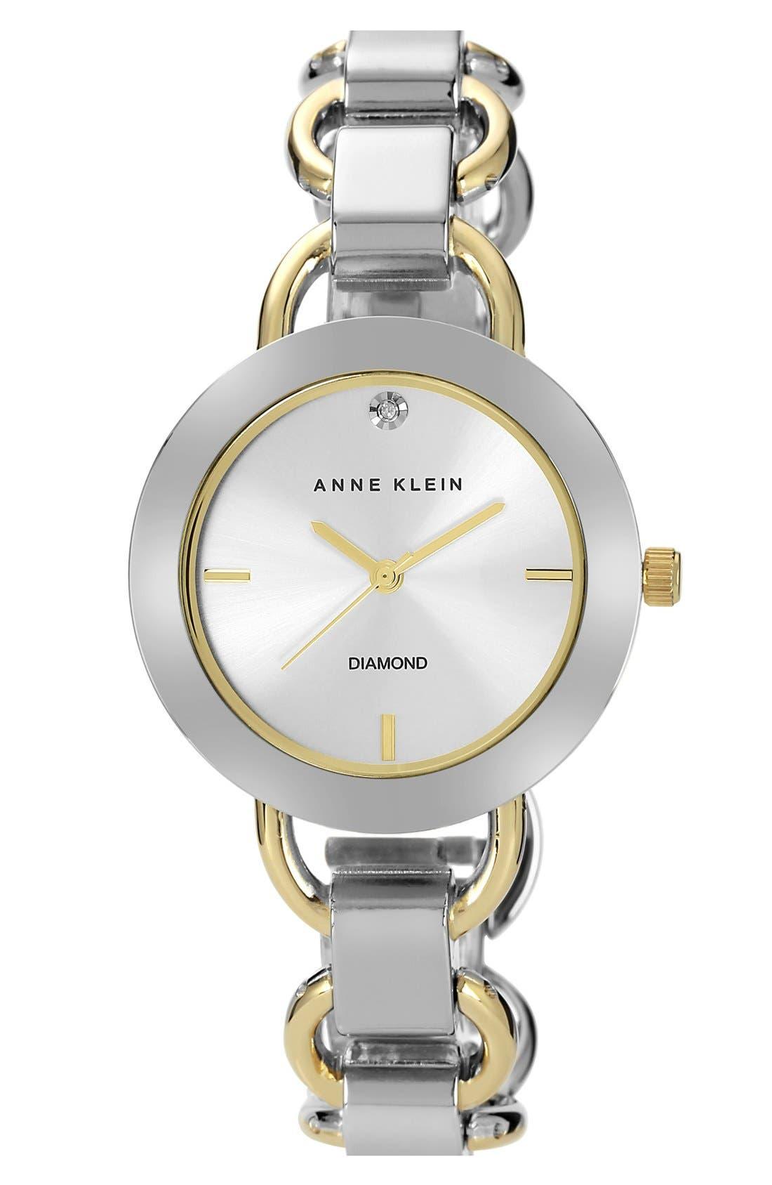 Main Image - Anne Klein Diamond Dial Bracelet Watch, 34mm