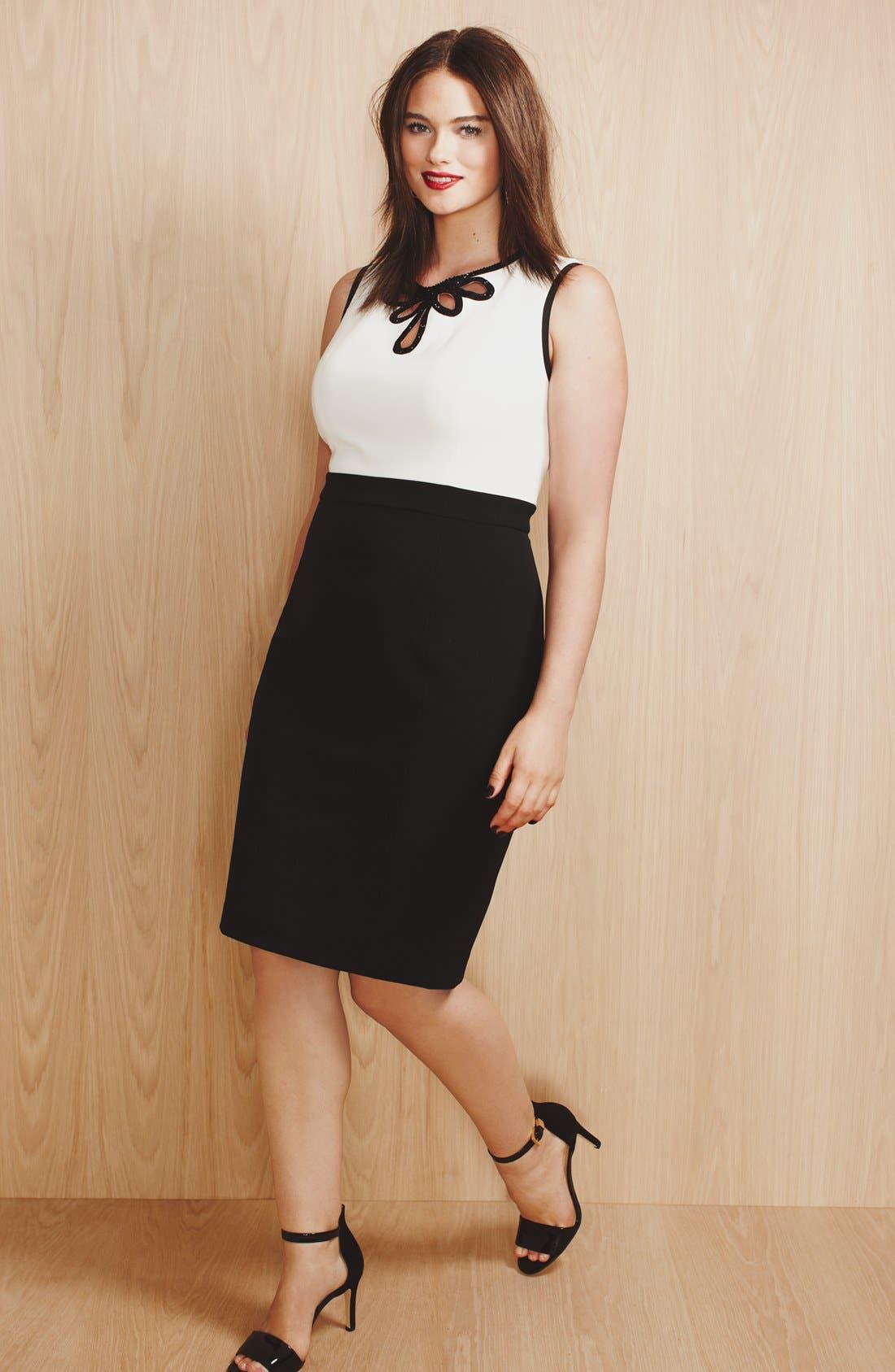 Alternate Image 6  - Adrianna Papell Embellished Crepe Sheath Dress (Plus Size)