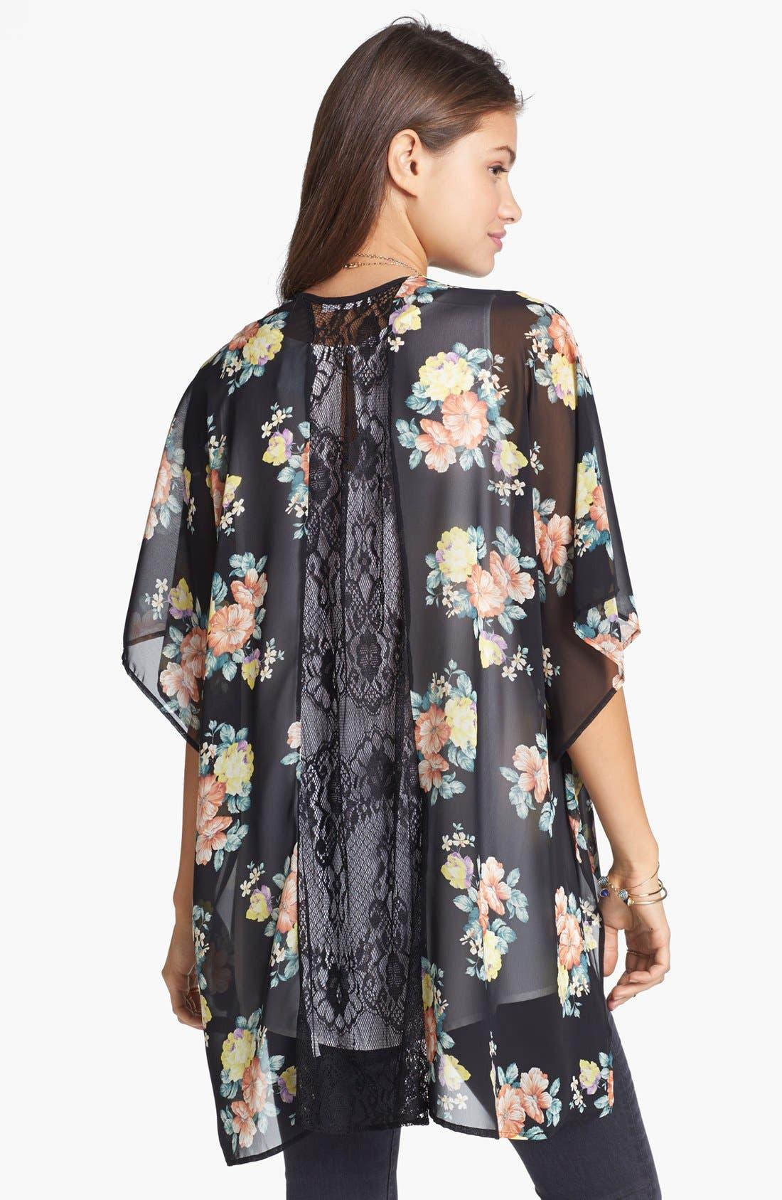 Alternate Image 2  - Lush Lace Inset Woven Kimono (Juniors)