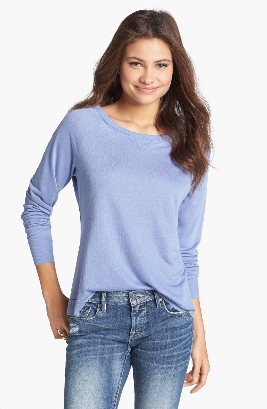 Alternate Image 1 Selected - Haute Society Lightweight Sweatshirt (Juniors)