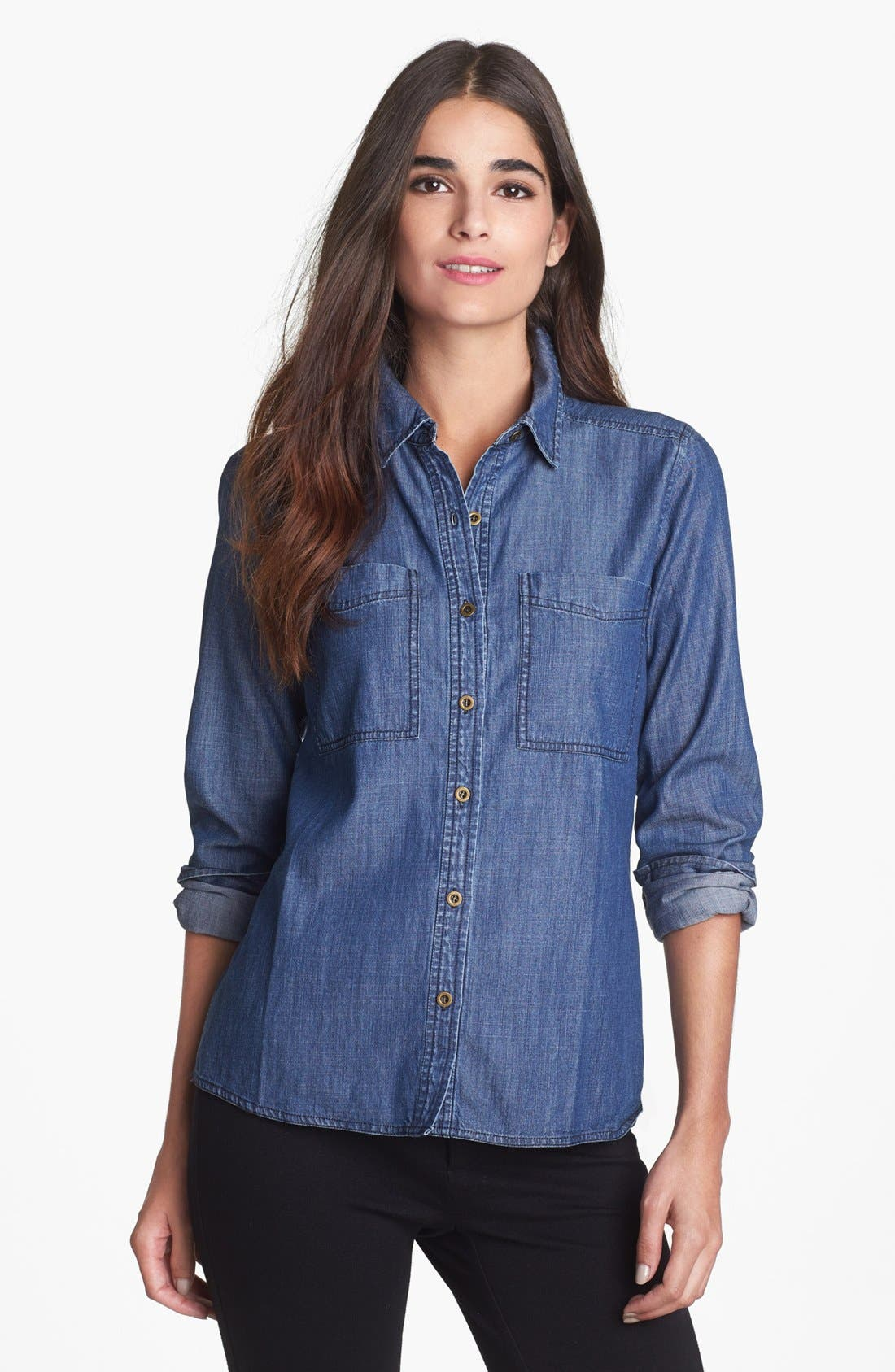 Alternate Image 1 Selected - Eileen Fisher Denim Shirt (Regular & Petite)