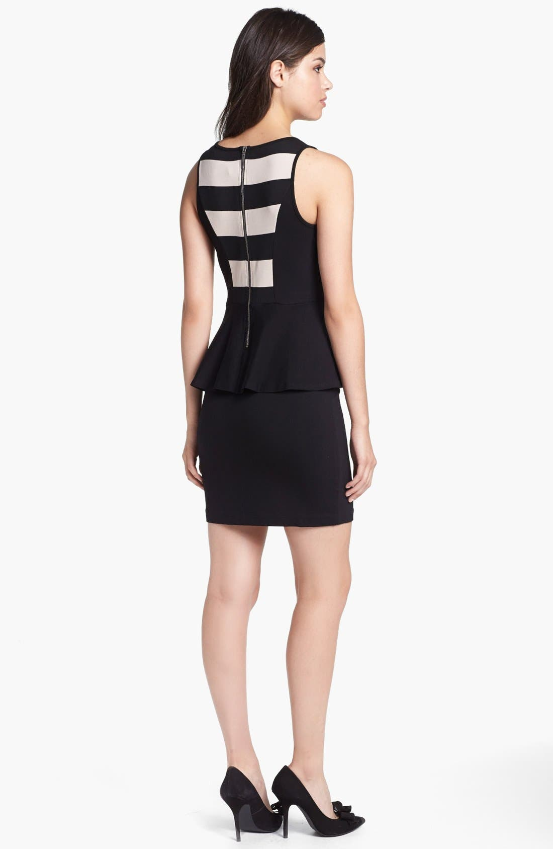 Alternate Image 2  - kensie Stripe Bodice Ponte Peplum Dress