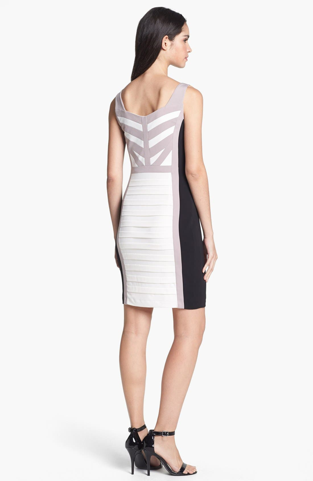 Alternate Image 2  - JAX Colorblock Shutter Pleat Body-Con Dress