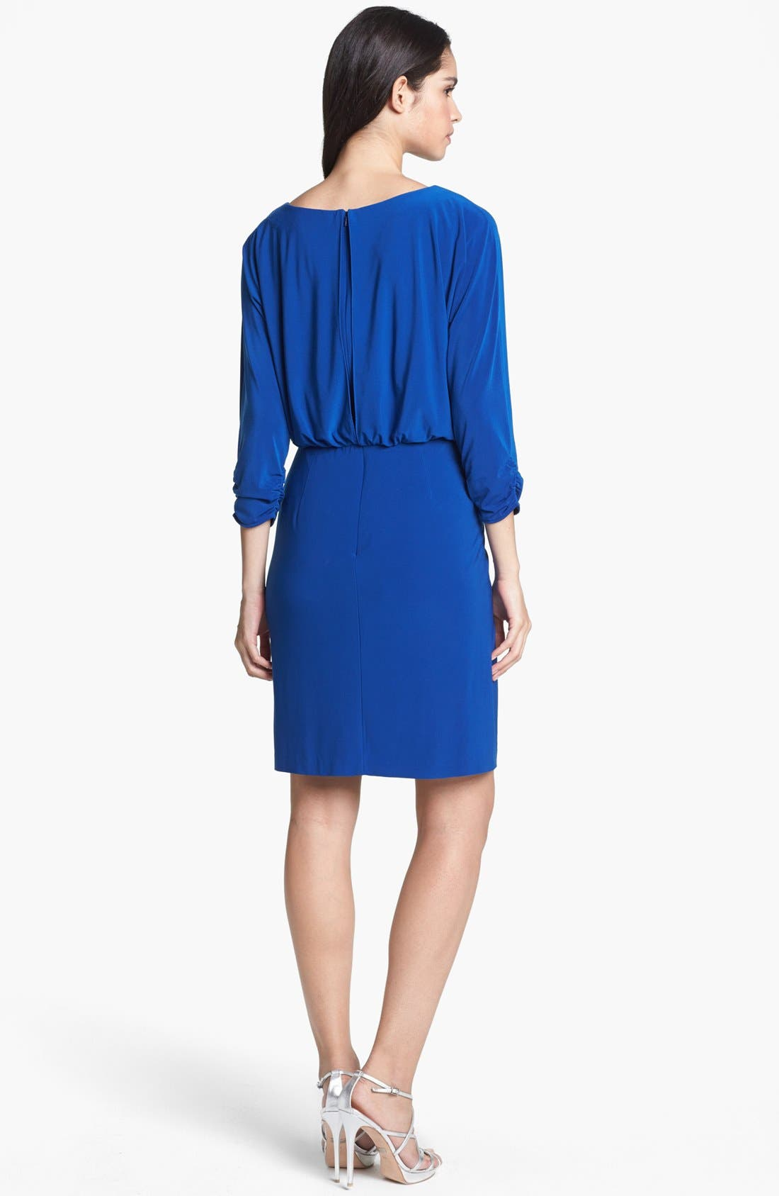 Alternate Image 2  - Alex Evenings Beaded Waist Jersey Blouson Dress