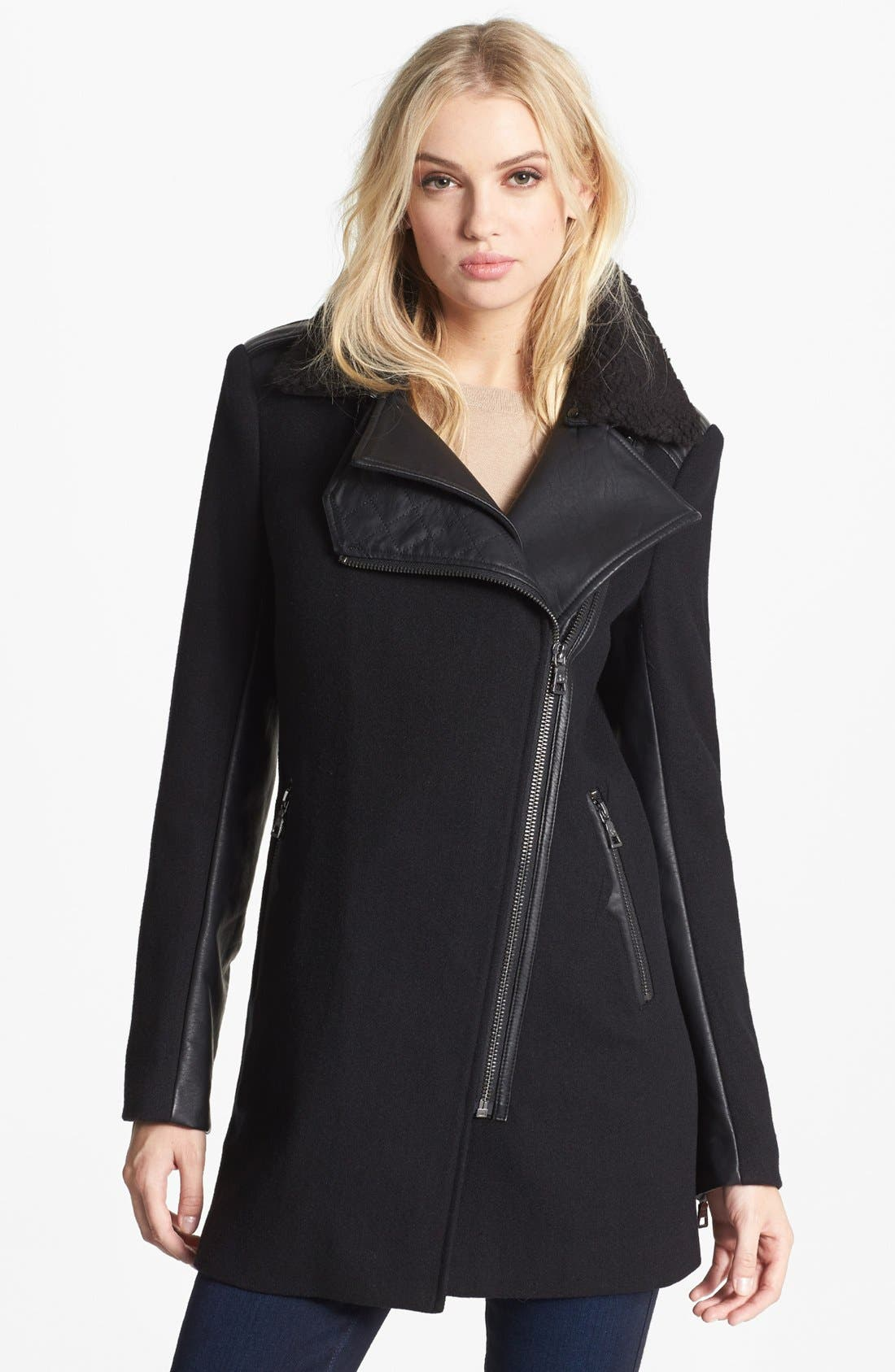 Alternate Image 1 Selected - Sam Edelman 'Leigh' Faux Shearling Collar Coat (Online Only)
