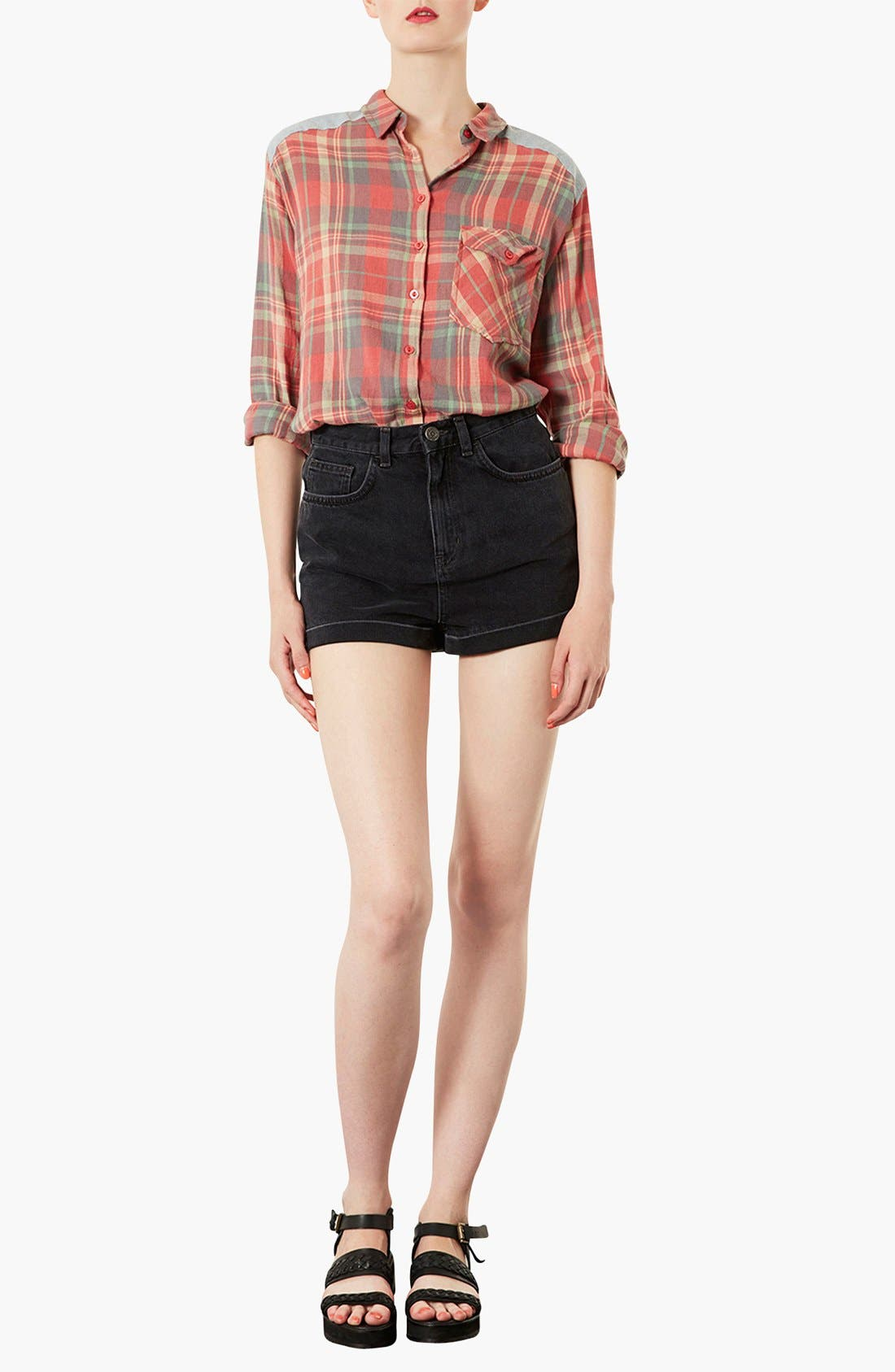 Alternate Image 3  - Topshop Moto 'Mom' High Rise Denim Shorts (Black)