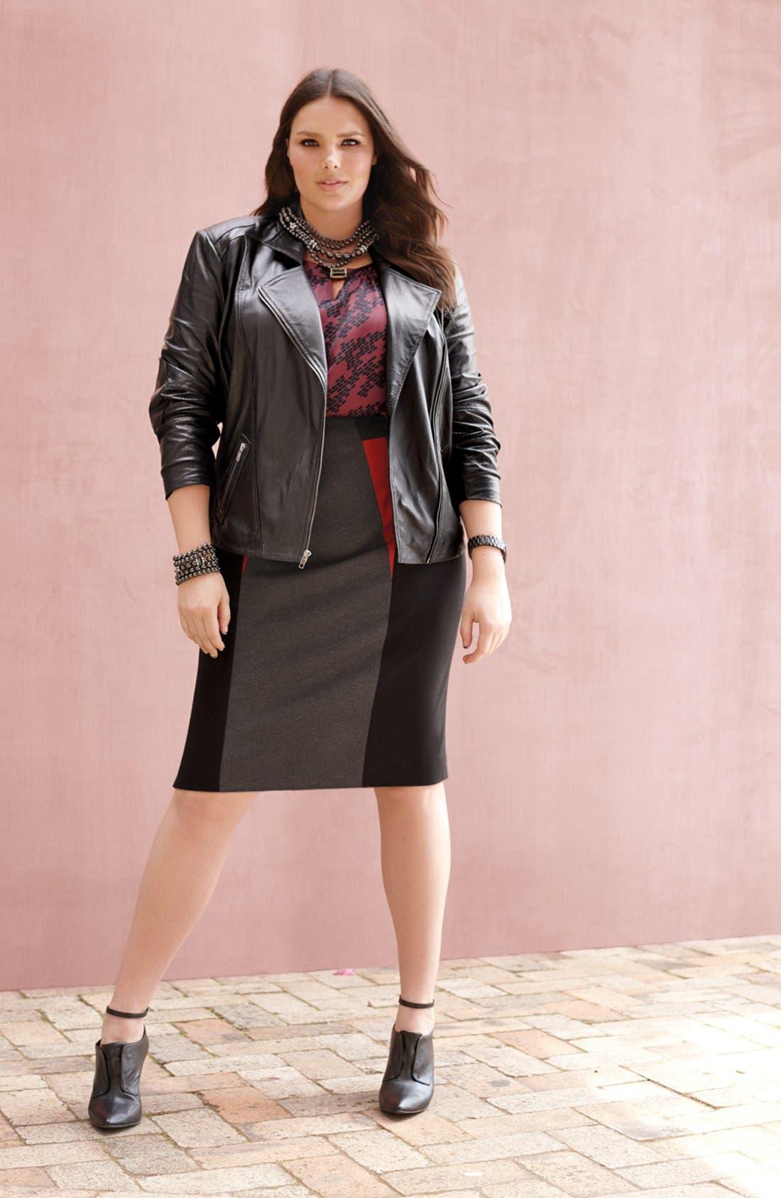 Alternate Image 4  - Sejour Colorblock Ponte Knit Pencil Skirt (Plus Size)