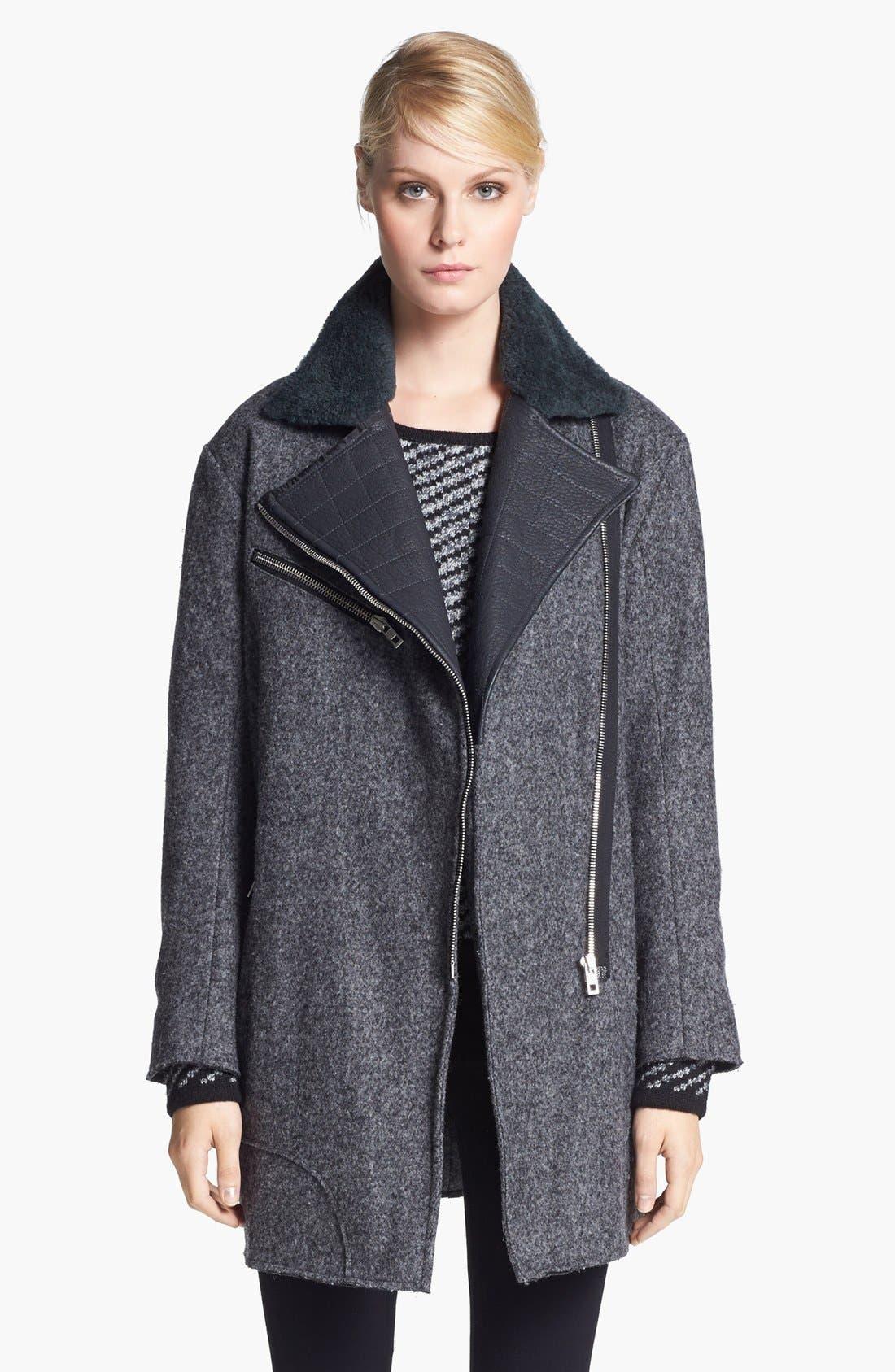 Main Image - rag & bone 'Turner' Genuine Shearling & Leather Collar Coat