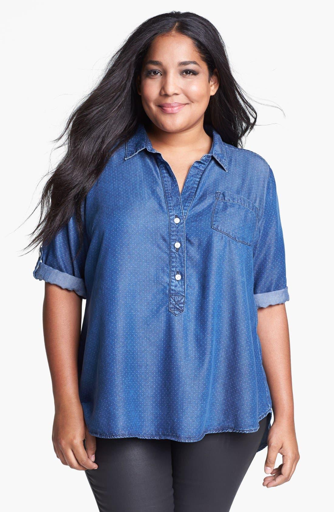 Alternate Image 1 Selected - Lucky Brand 'Charleigh' Polka Dot Chambray Shirt (Plus Size)