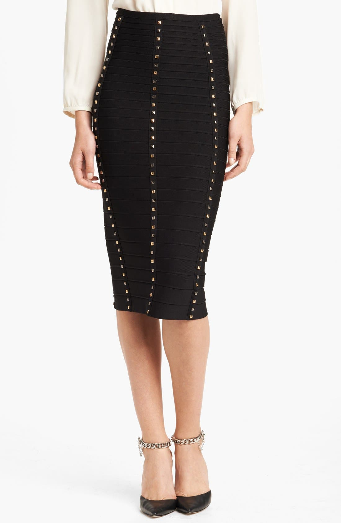 Main Image - Herve Leger Gold Stud Pencil Skirt