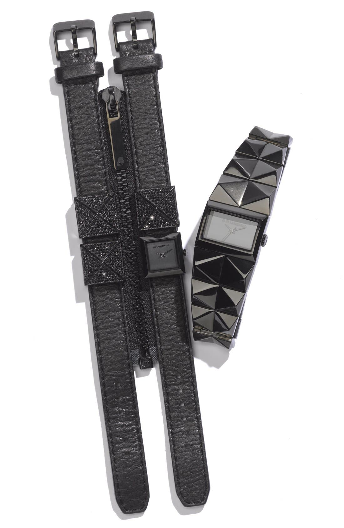 Alternate Image 6  - KARL LAGERFELD 'Perspektive' Pyramid Bracelet Watch, 27mm x 20mm