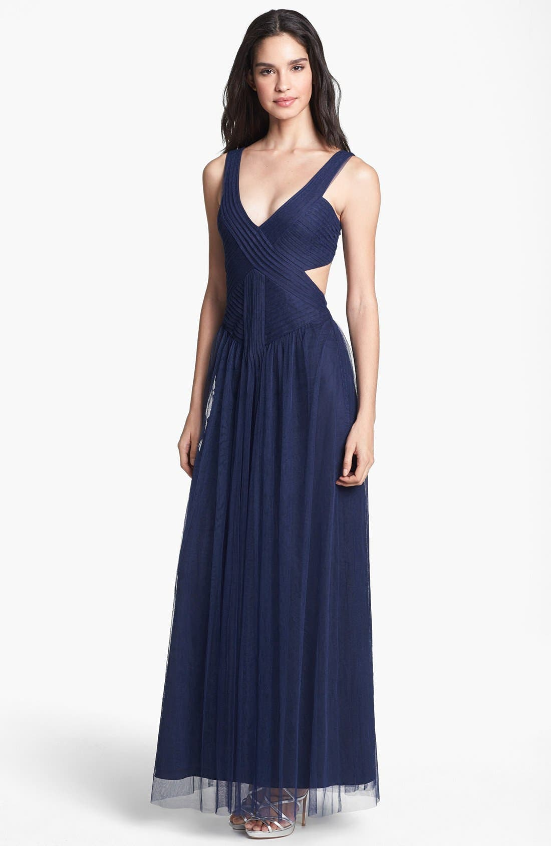 Alternate Image 1 Selected - BCBGMAXAZRIA 'Mara' Cutout Tulle Gown