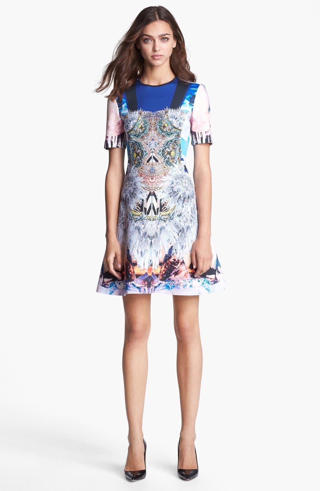 Main Image - Clover Canyon 'Crystal Corset' Scuba A-Line Dress