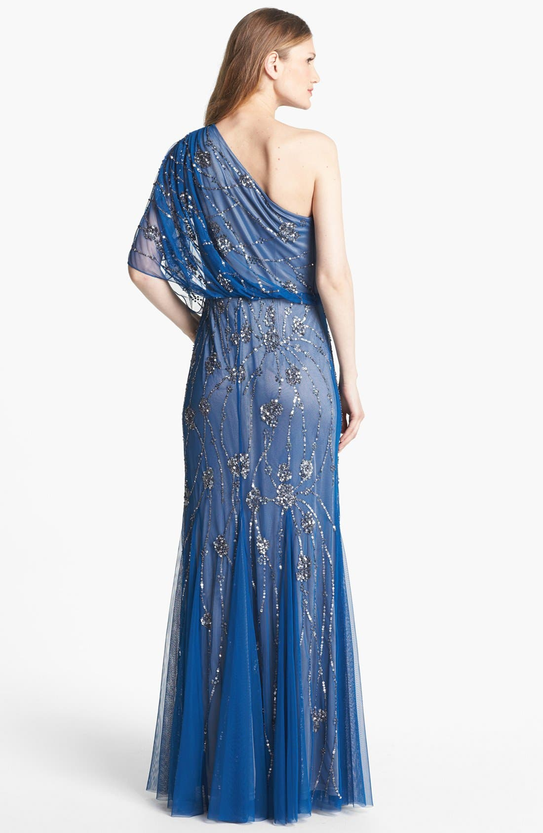 Alternate Image 2  - Adrianna Papell Beaded One Shoulder Blouson Gown