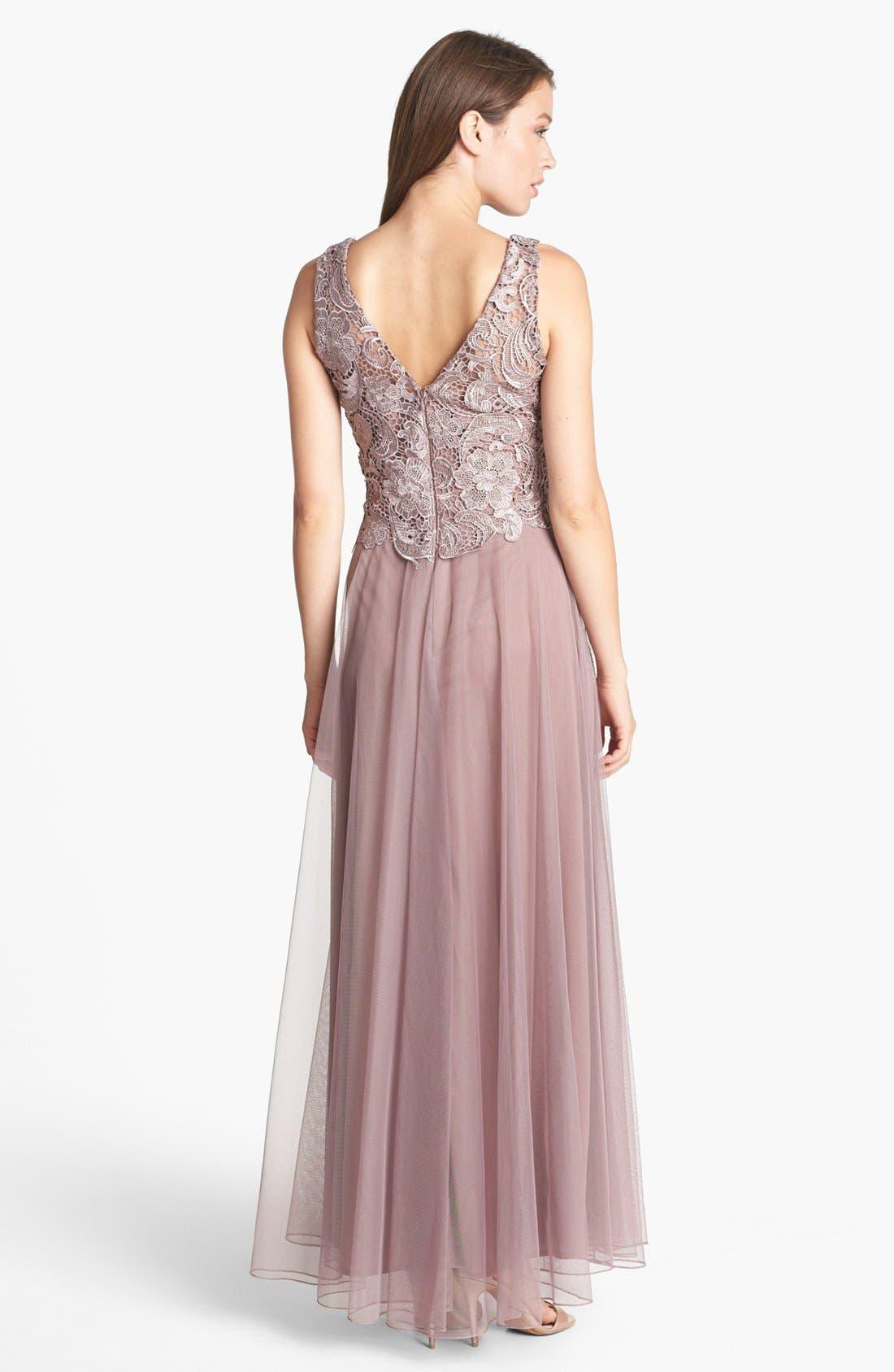 Alternate Image 2  - Patra Venice Lace & Chiffon Dress (Regular & Petite)