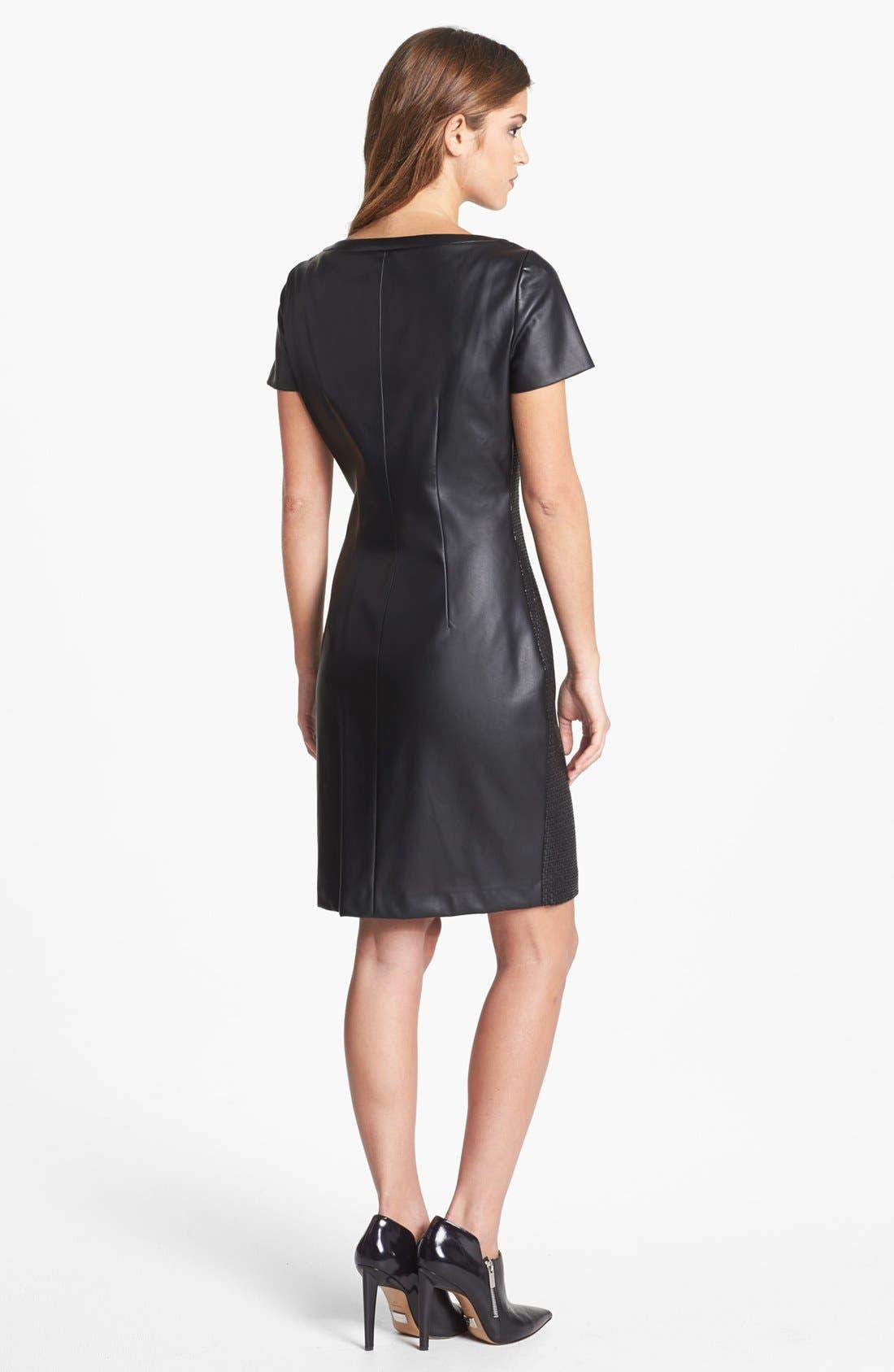 Alternate Image 2  - T Tahari 'Lalita' Textured Front Faux Leather Dress