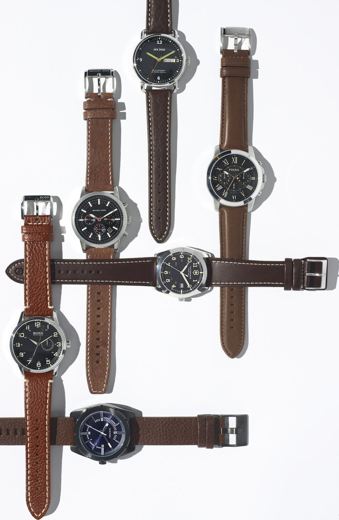 Alternate Image 3  - Jack Spade 'Buckner' Leather Strap Watch, 42mm