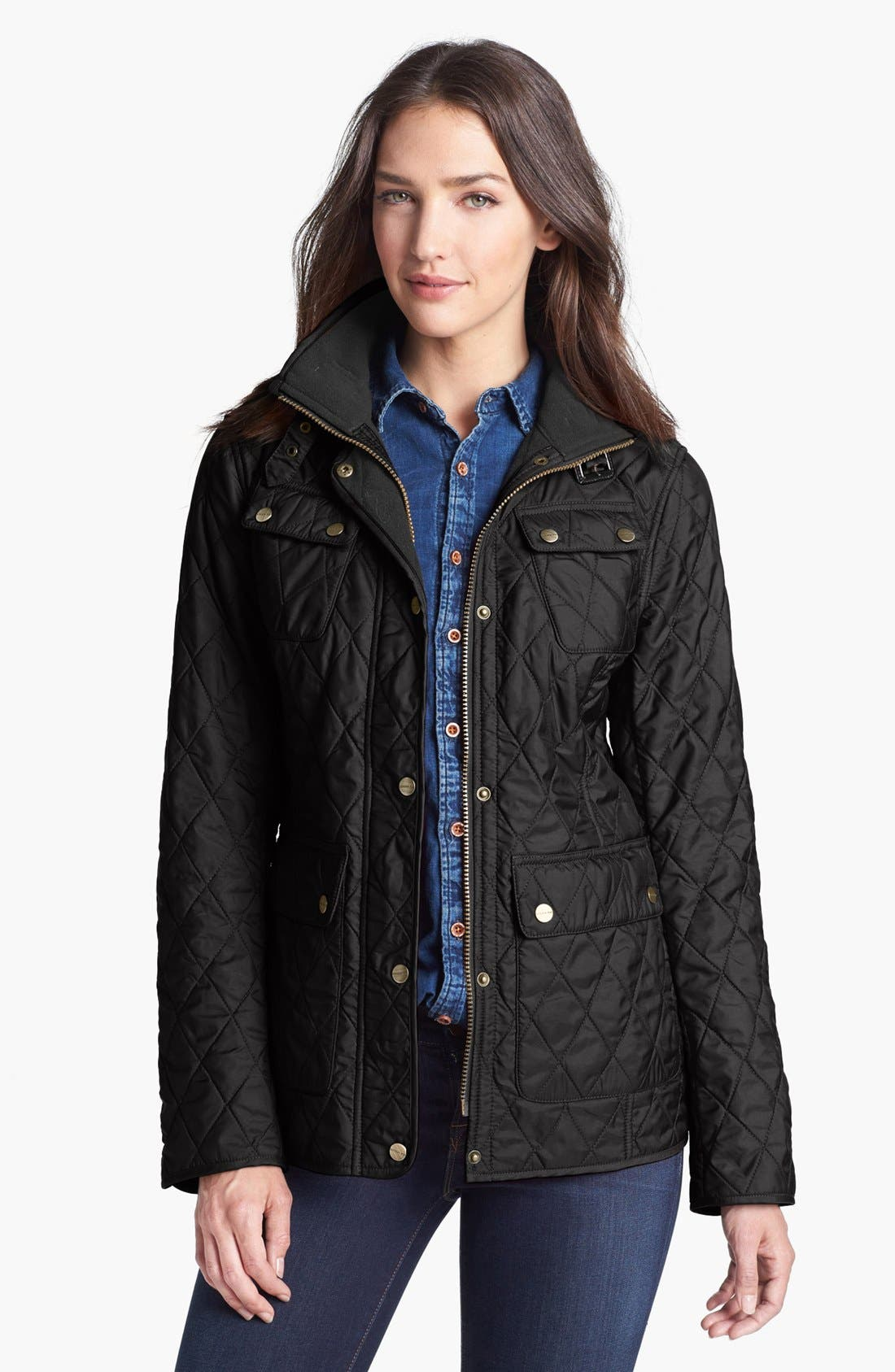 Alternate Image 1 Selected - London Fog Fly Front Quilted Jacket (Regular & Petite)