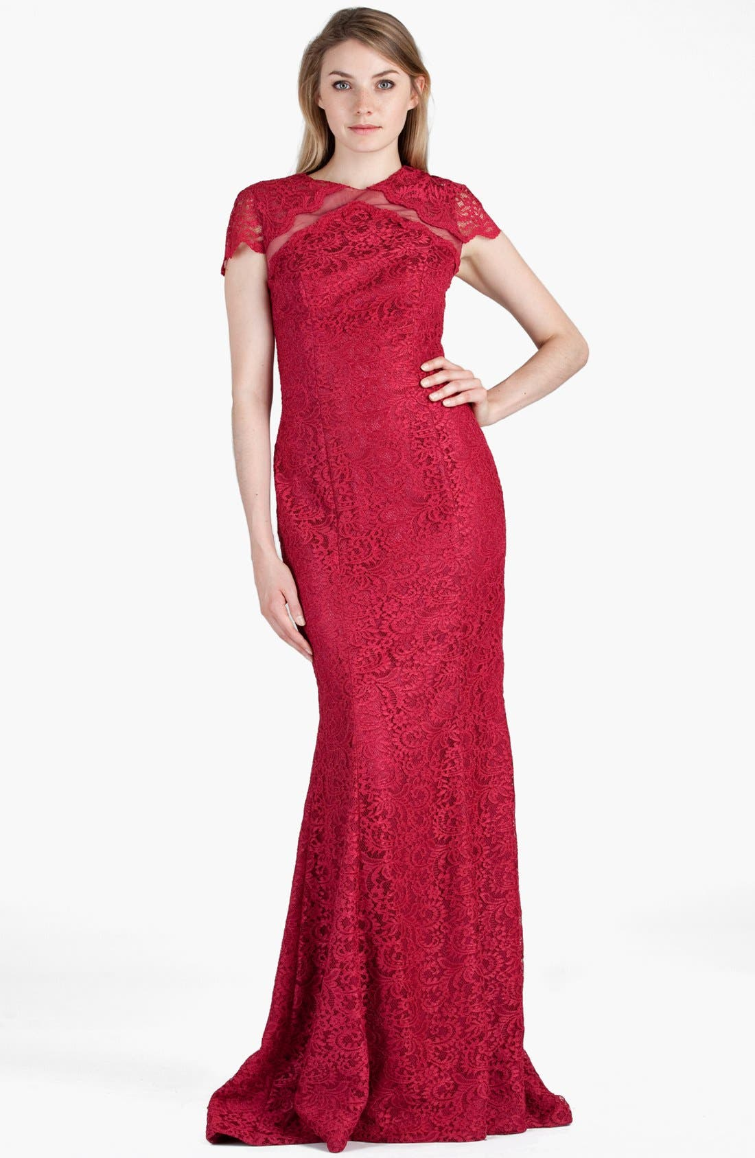 Alternate Image 1 Selected - JS Boutique Mesh Inset Lace Trumpet Gown