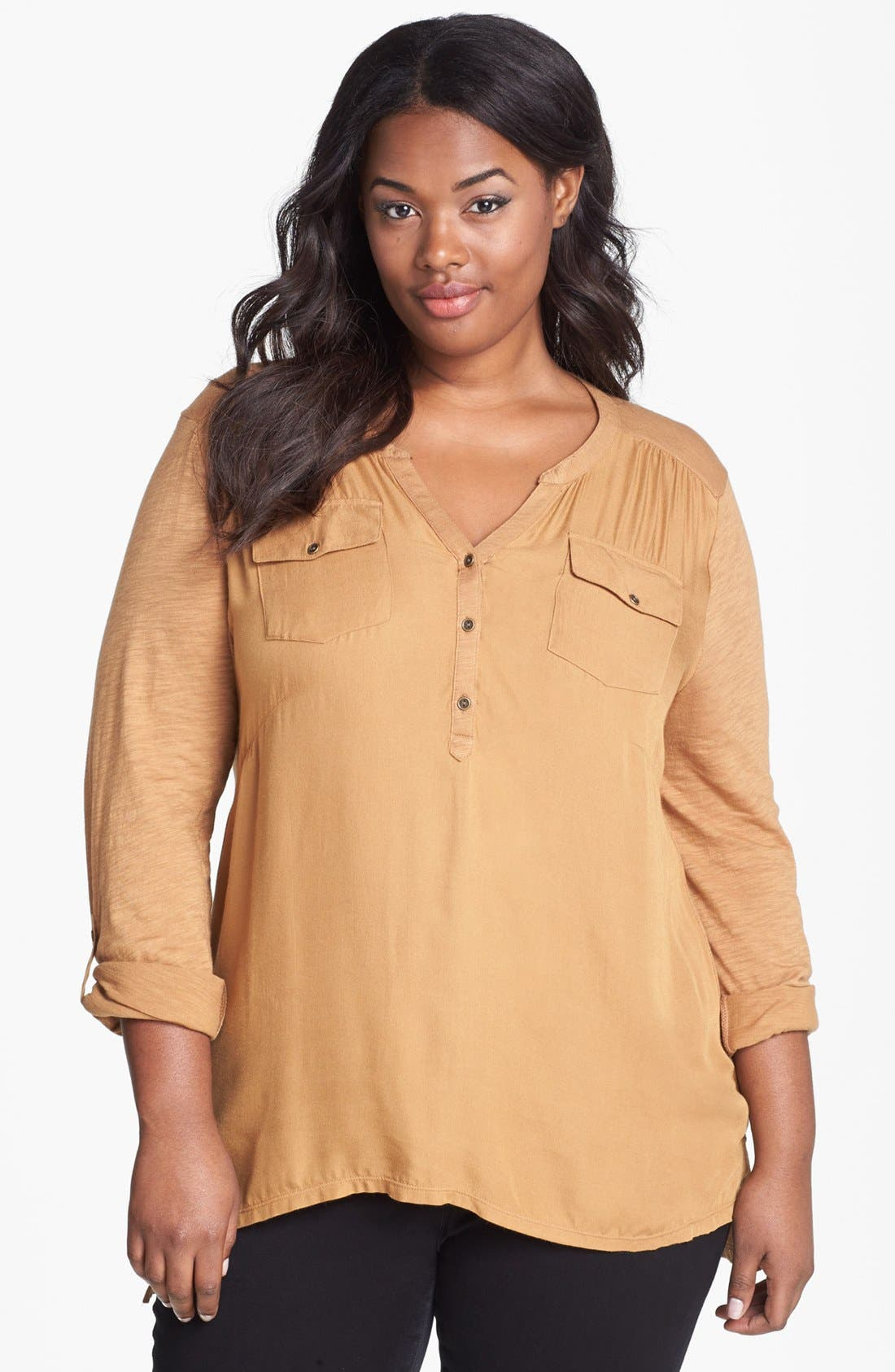 Alternate Image 1 Selected - Lucky Brand Woven Front Jersey Top (Plus Size)