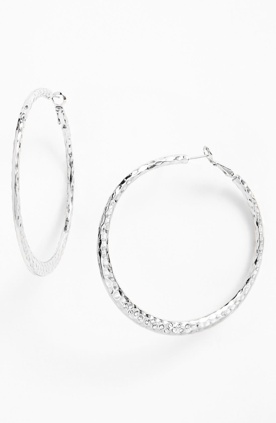 Main Image - Sequin Large Hammered Hoop Earrings