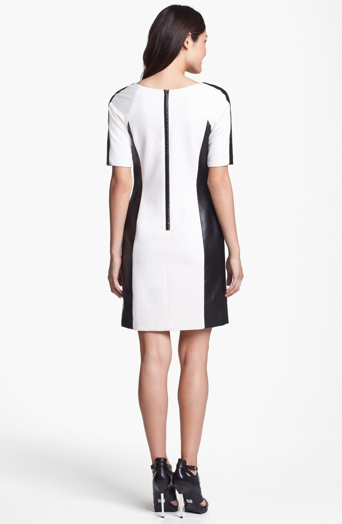 Alternate Image 2  - Laundry by Shelli Segal Faux Leather Trim Sheath Dress
