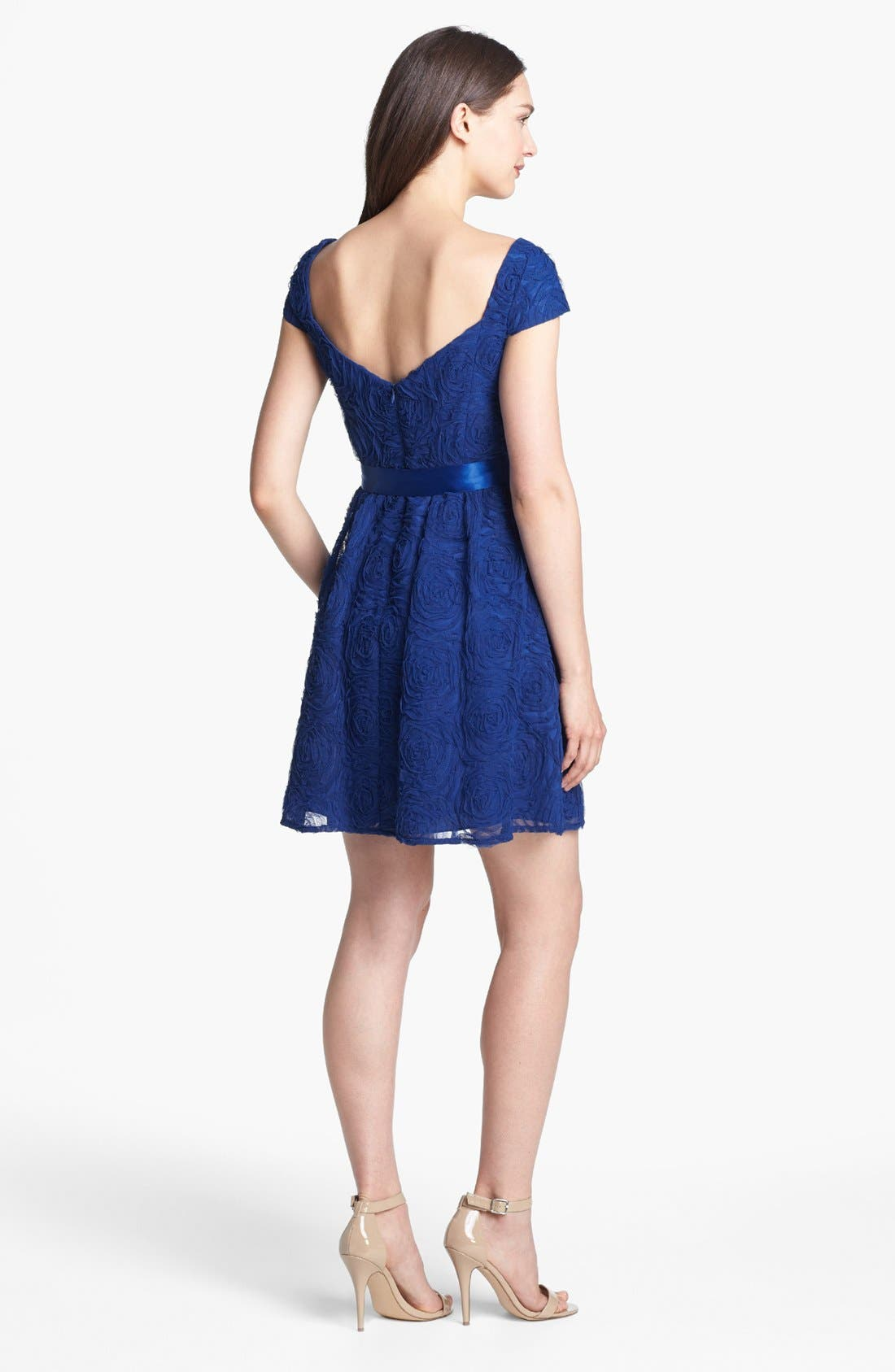 Alternate Image 2  - Adrianna Papell Rosette Textured Fit & Flare Dress