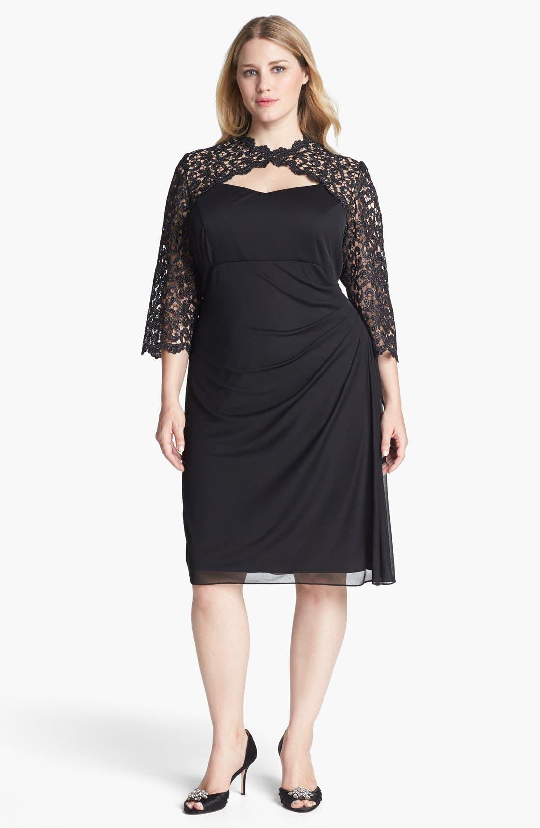 Alternate Image 1 Selected - Alex Evenings Lace Yoke Ruched Dress (Plus Size)