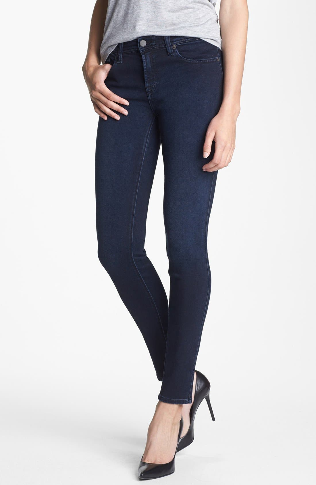 Alternate Image 1 Selected - Genetic 'The Stem' Mid Rise Skinny Jeans (Pop Blue)