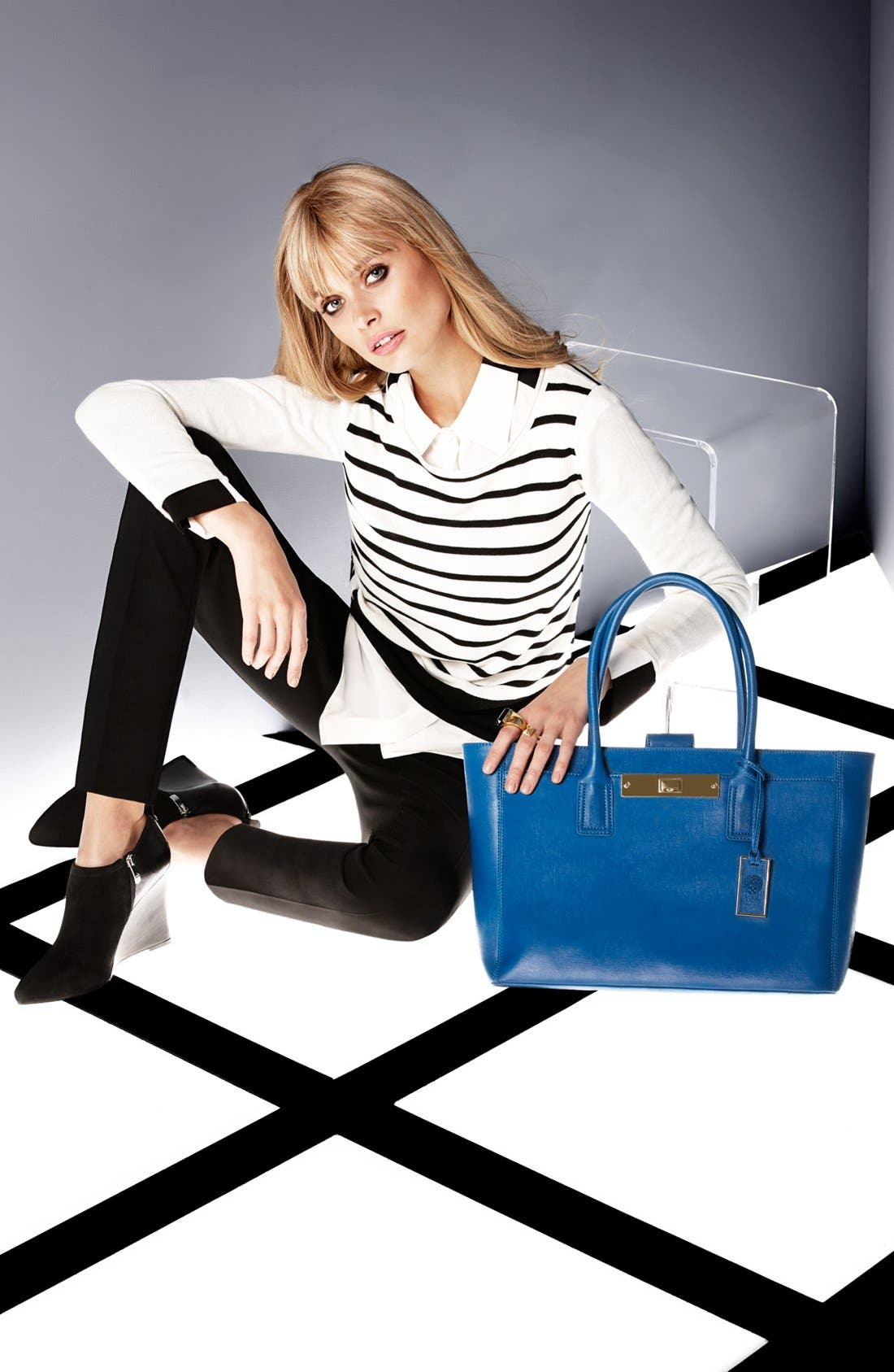 Alternate Image 6  - Vince Camuto Colorblock High/Low Blouse (Online Only)