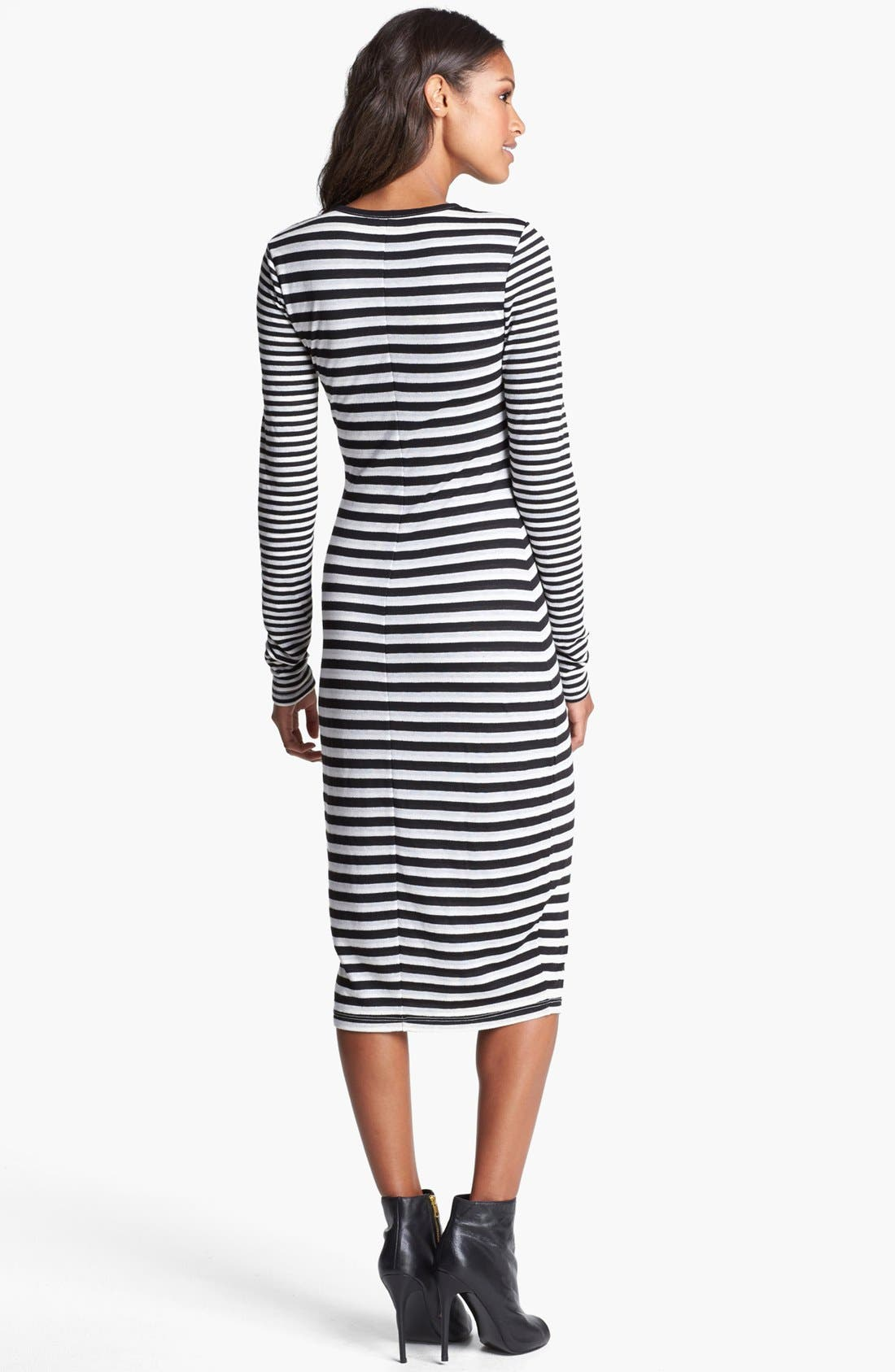 Alternate Image 2  - Three Dots Stripe Crewneck Midi Dress