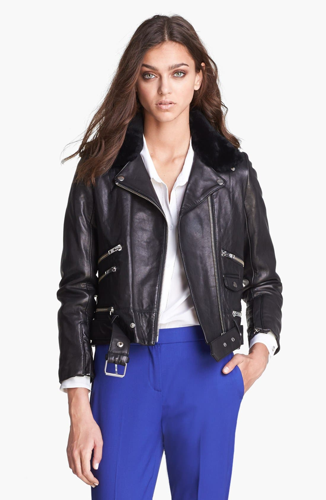 Main Image - The Kooples Leather Biker Jacket with Genuine Fur Collar