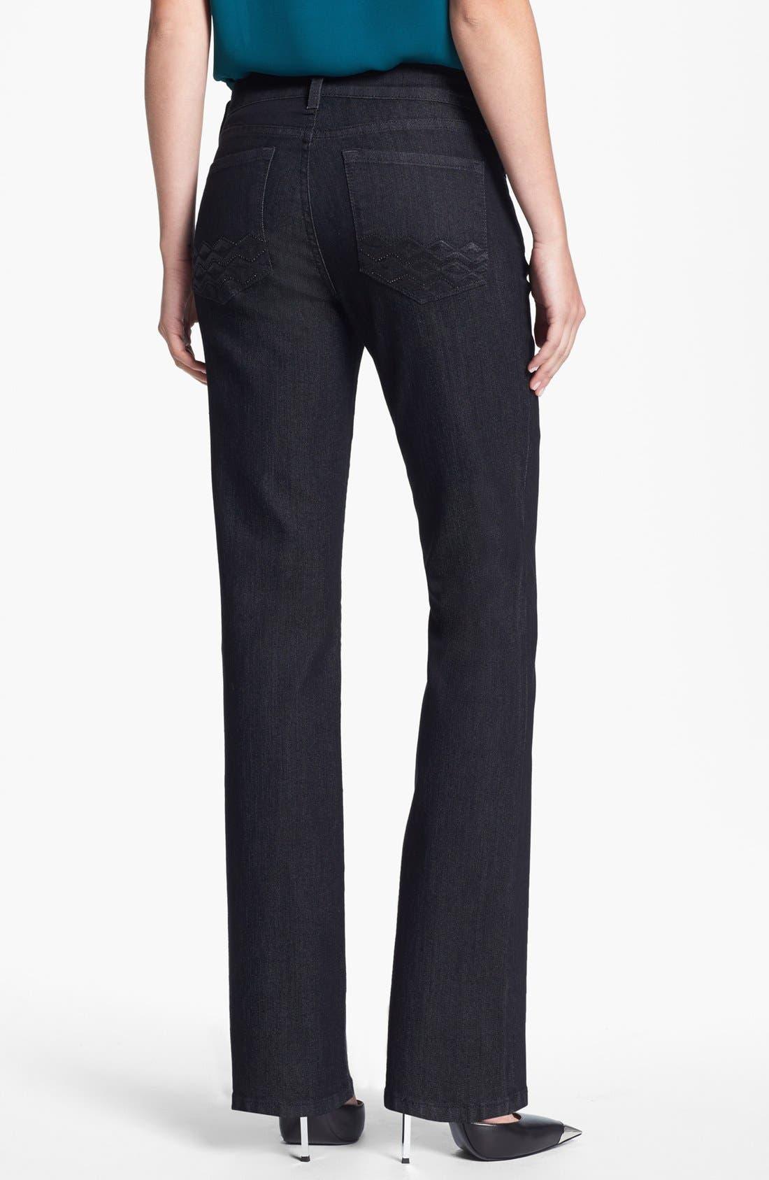 Alternate Image 2  - NYDJ 'Barbara' Embellished Pocket Stretch Bootcut Jeans (Dark Enzyme)