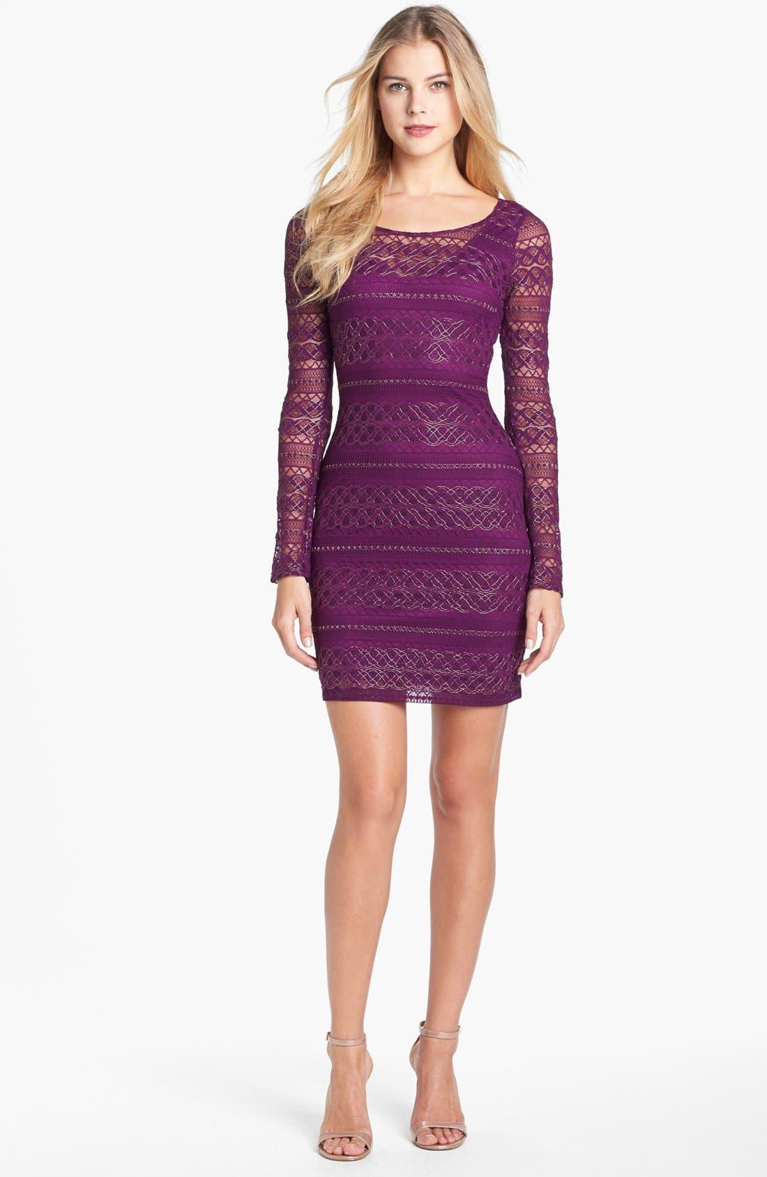 Main Image - GUESS Metallic Lace Knit Sheath Dress