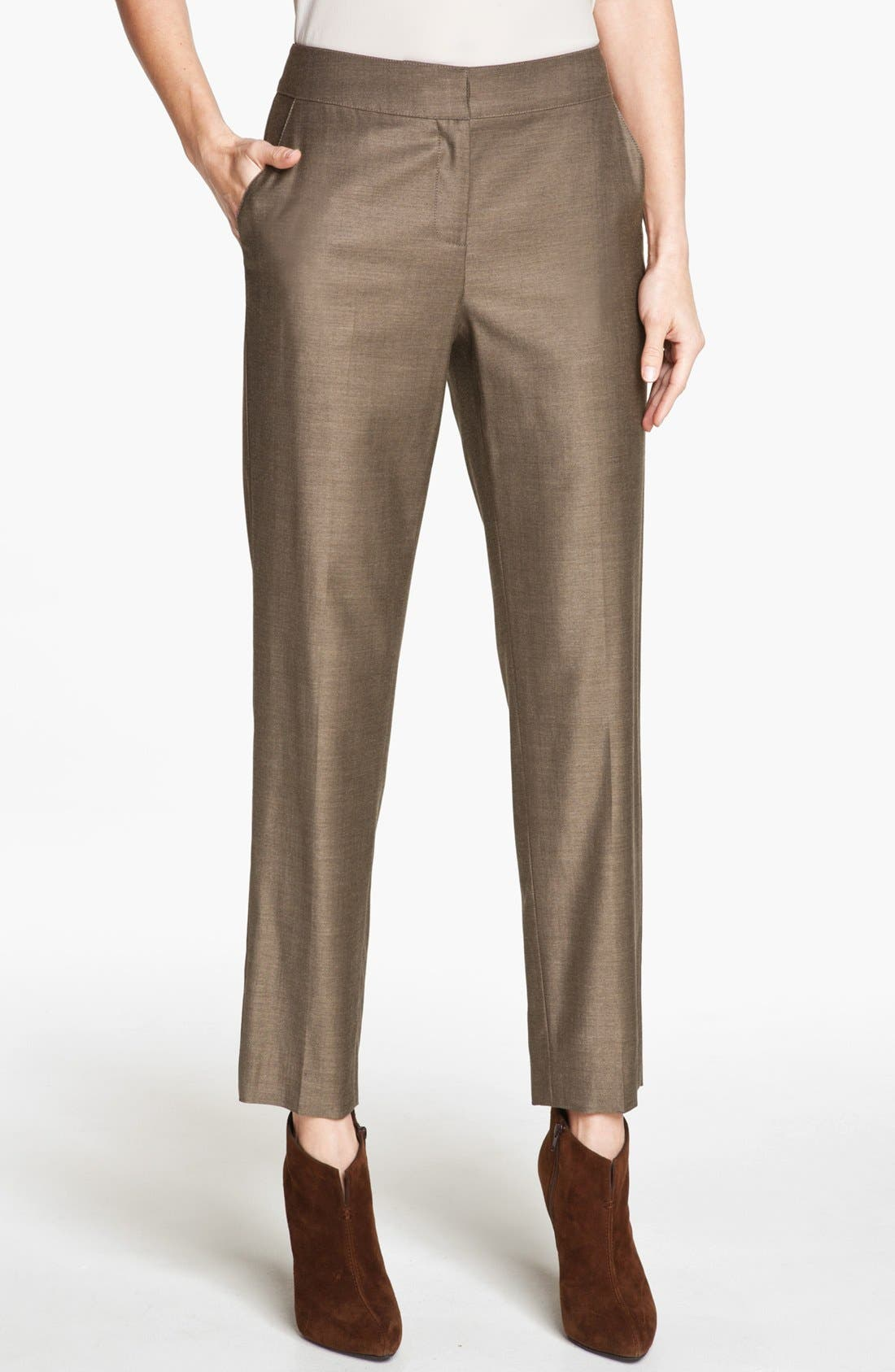 Alternate Image 1 Selected - St. John Collection 'Emma' Shimmer Twill Crop Pants