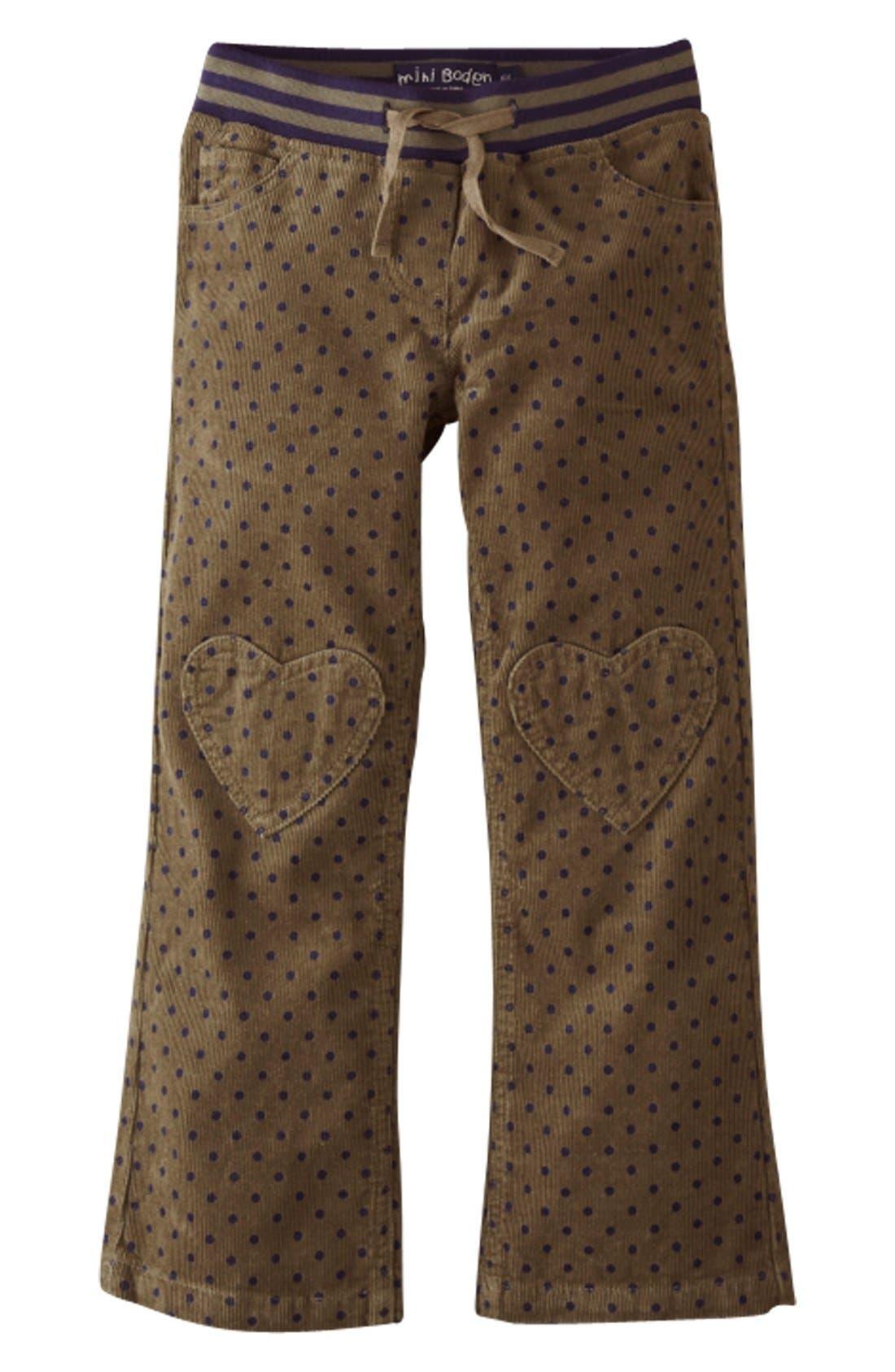 Alternate Image 1 Selected - Mini Boden Heart Patch Ribbed Waist Pants (Little Girls & Big Girls)