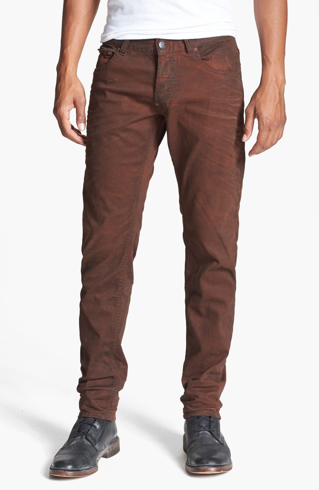 Alternate Image 1 Selected - Gilded Age 'Morrison' Coated Skinny Fit Jeans (Faded Brick)