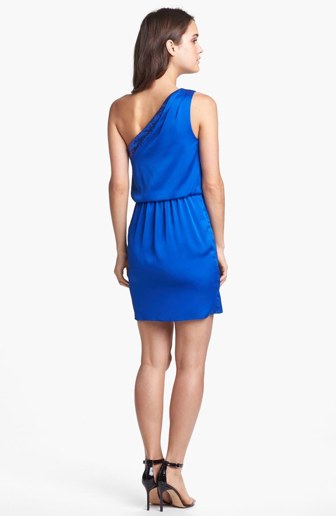 Alternate Image 2  - Aidan by Aidan Mattox Embellished One-Shoulder Blouson Dress