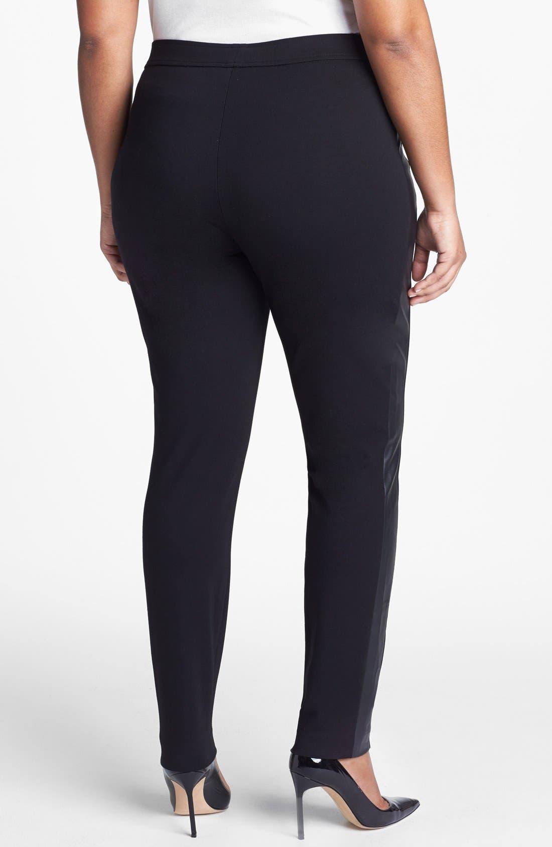 Alternate Image 2  - Sejour Faux Leather & Ponte Knit Pants (Plus Size)