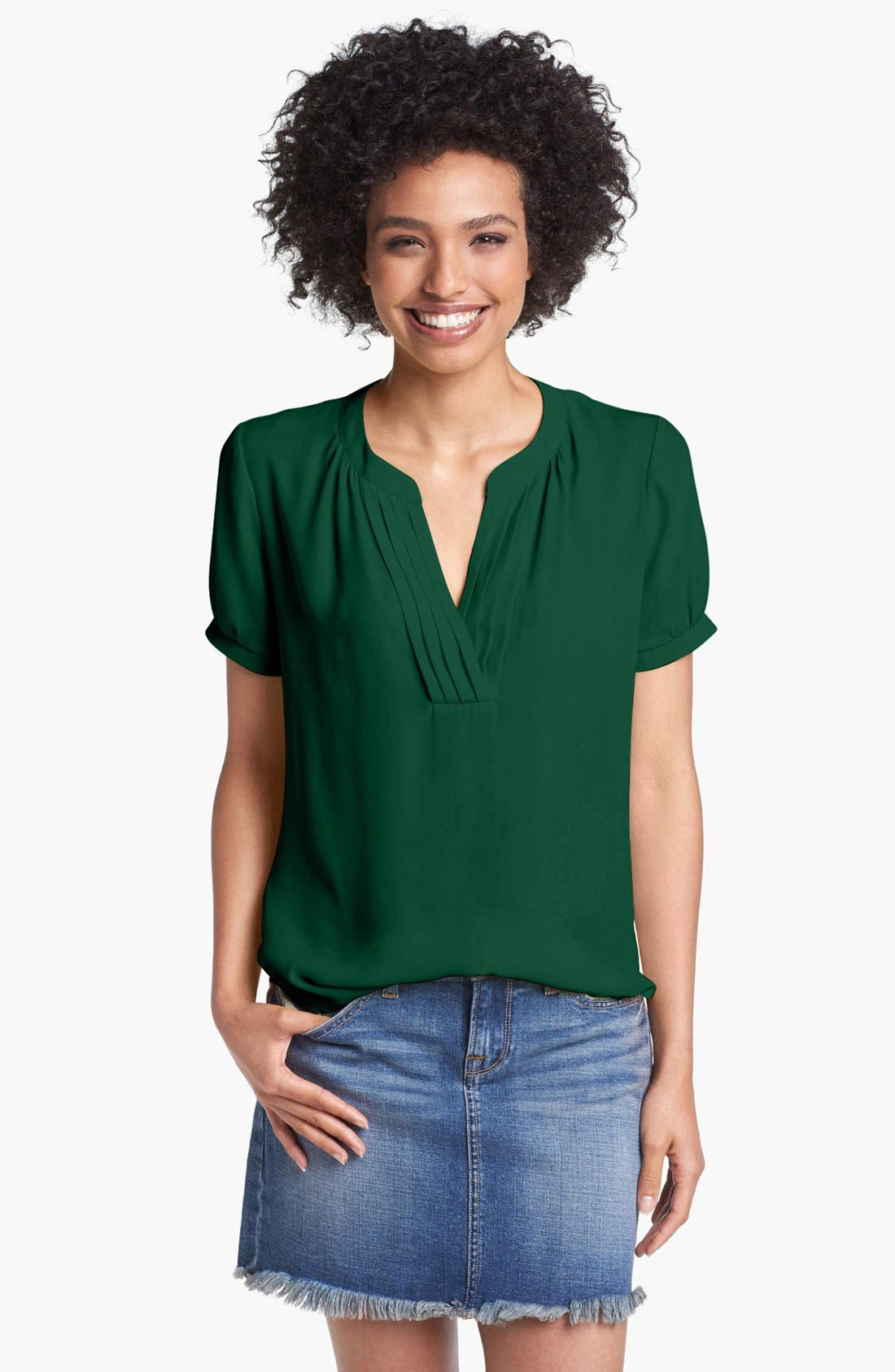 Main Image - Pleione Pleated Split Neck Blouse