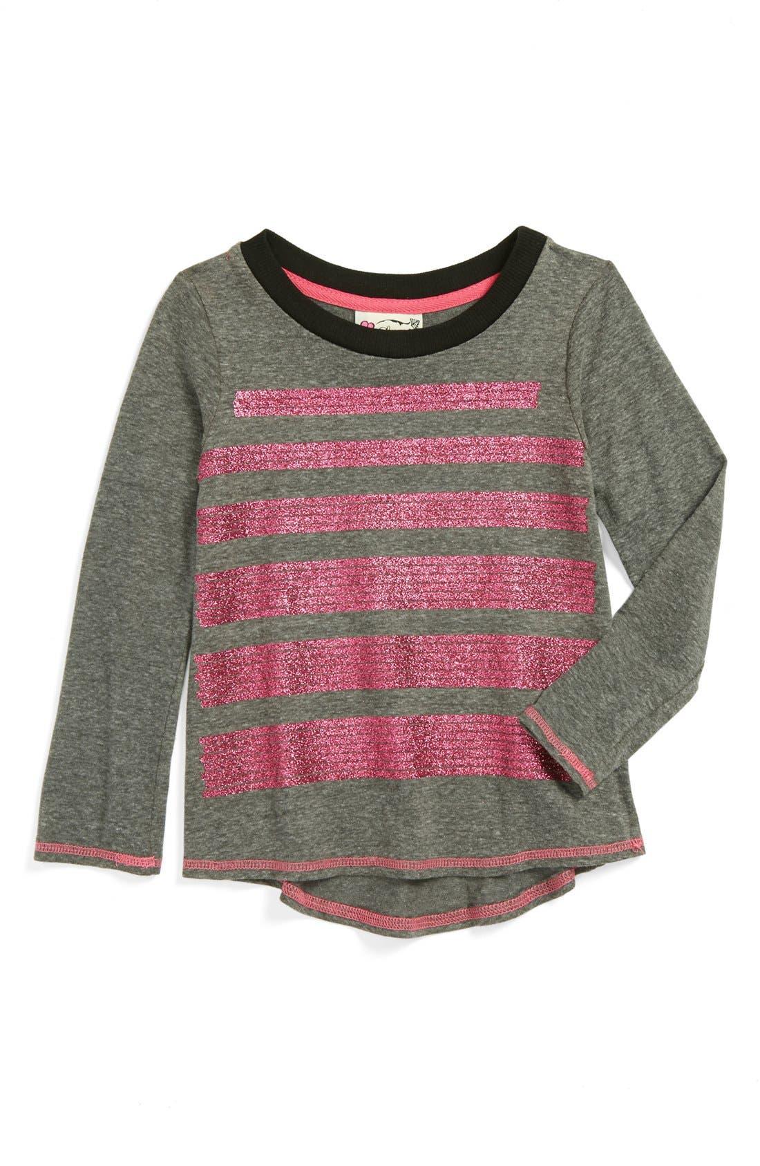 Alternate Image 1 Selected - Little Pretties Glitter Stripe Tee (Toddler Girls)