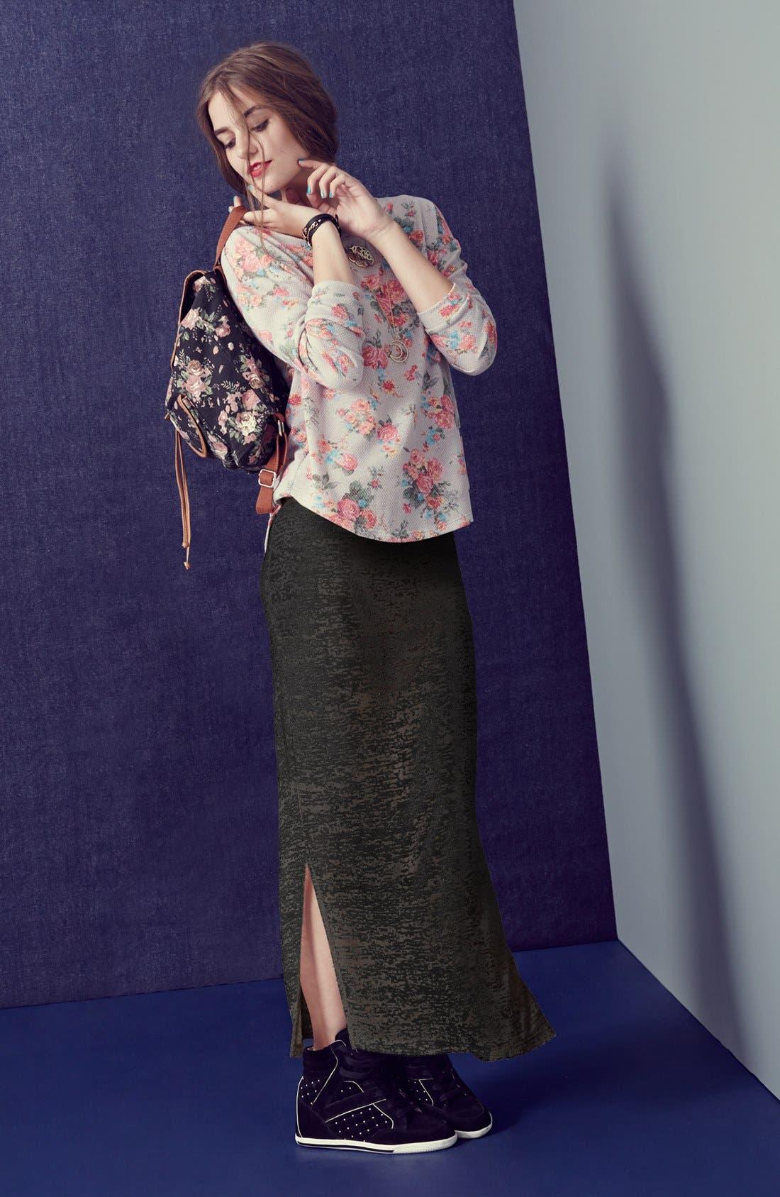Alternate Image 4  - Lily White Burnout Side Slit Maxi Skirt (Juniors)