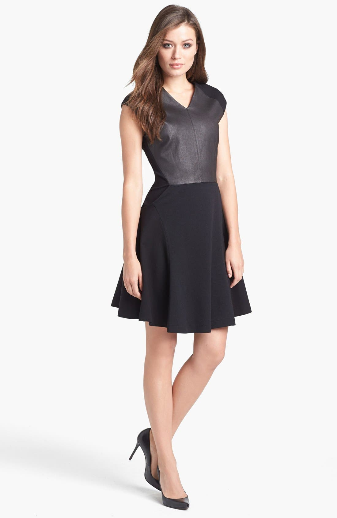 Alternate Image 1 Selected - B and K by BUCHANAN & KANG Leather Bodice Dress