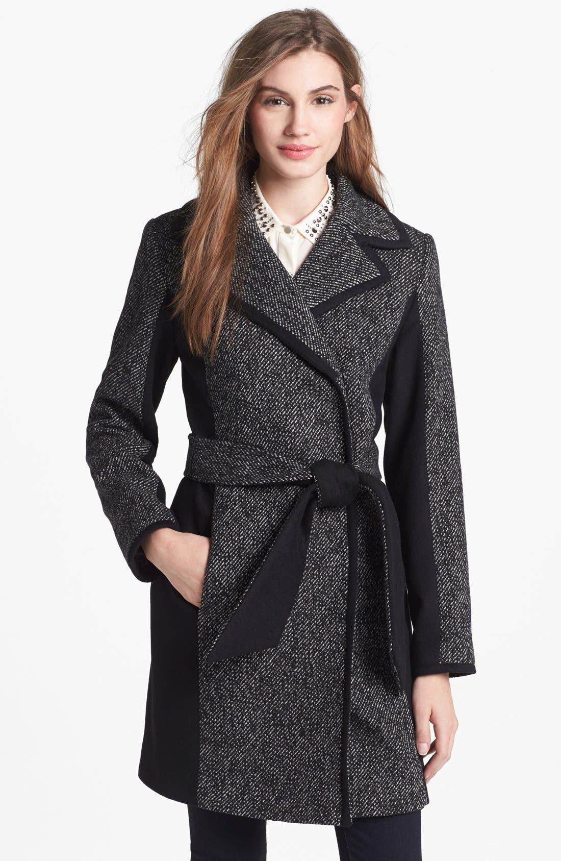 Main Image - Kristen Blake Belted Colorblocked Tweed Coat (Petite)