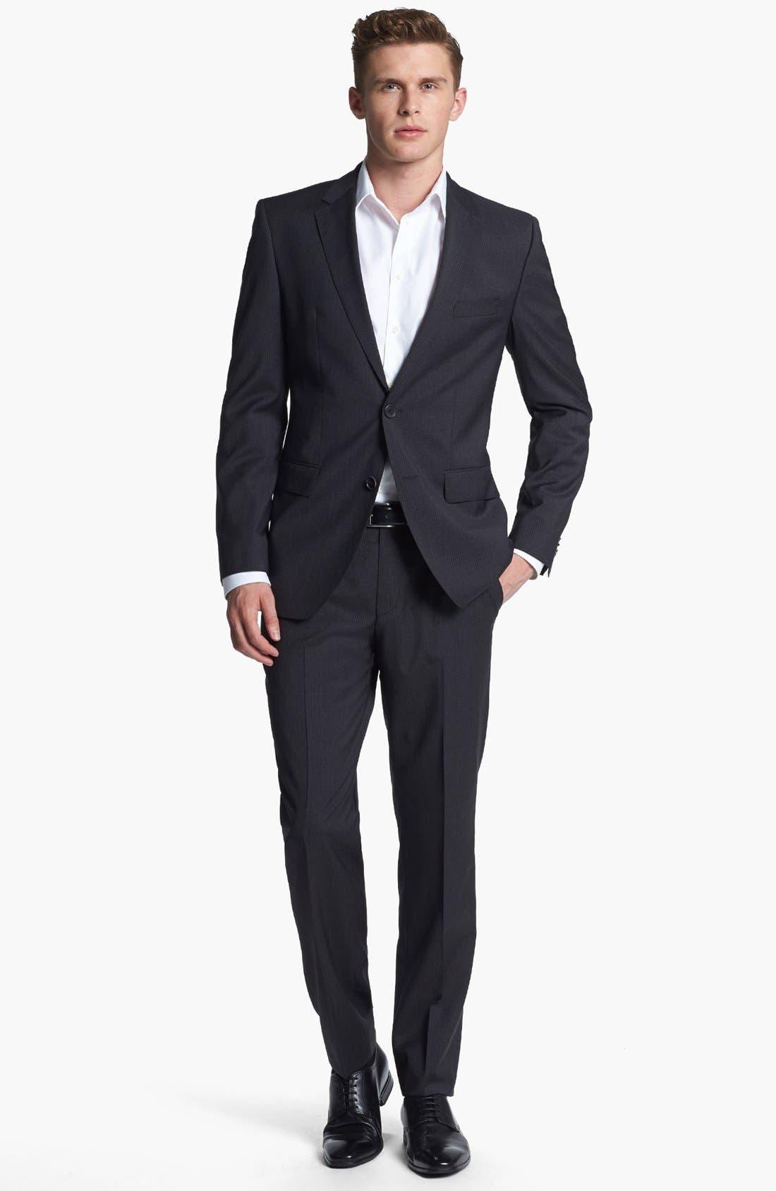 Alternate Image 1 Selected - BOSS HUGO BOSS 'James/Sharp' Trim Fit Check Suit