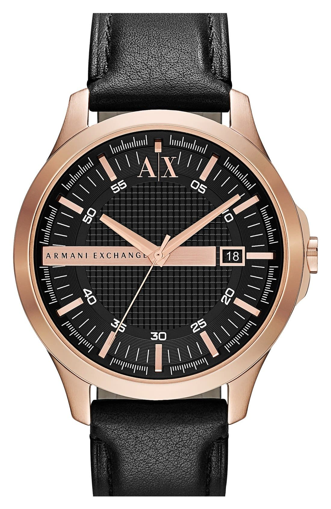 Main Image - AX Armani Exchange Leather Strap Watch, 46mm
