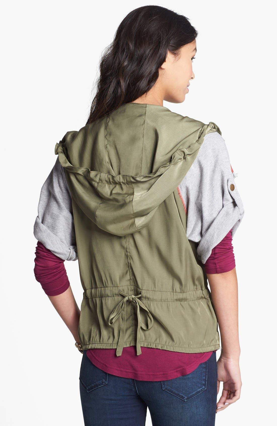 Alternate Image 2  - Angel Kiss Knit Sleeve Hooded Military Jacket (Juniors)